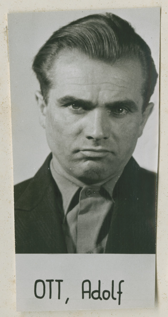 Defendant Adolf Ott at the Einsatzgruppen Trial.  Ott was the Commanding Officer of Sonderkommando 7b of Einsatzgruppe B.