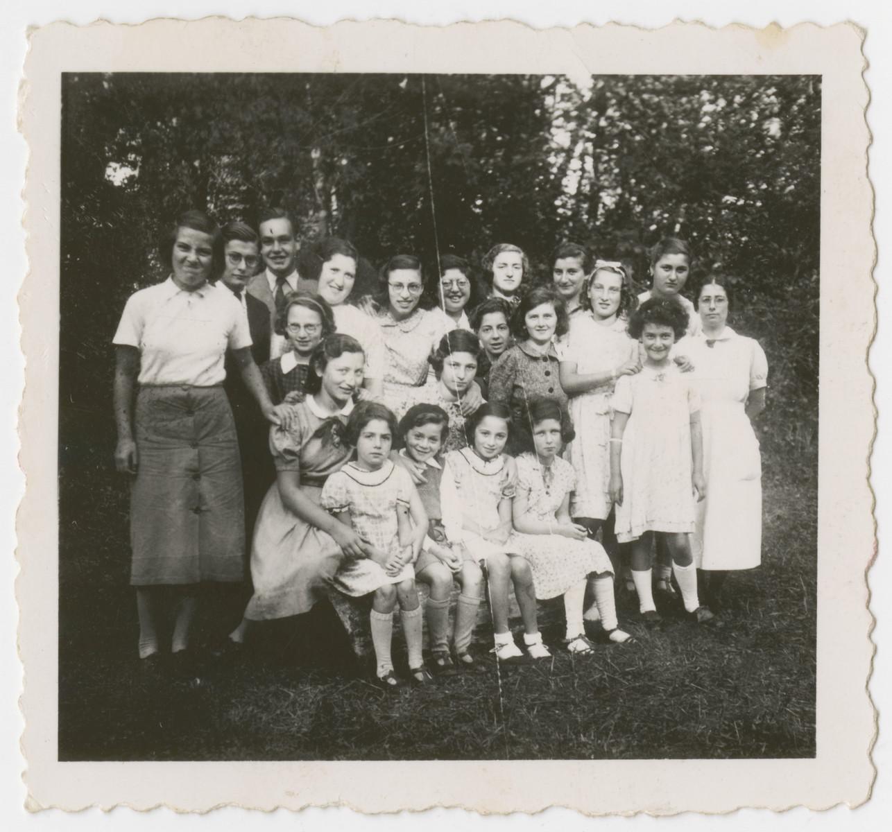 Group portrait of Jewish children hiding in a children's home in Bergerac.