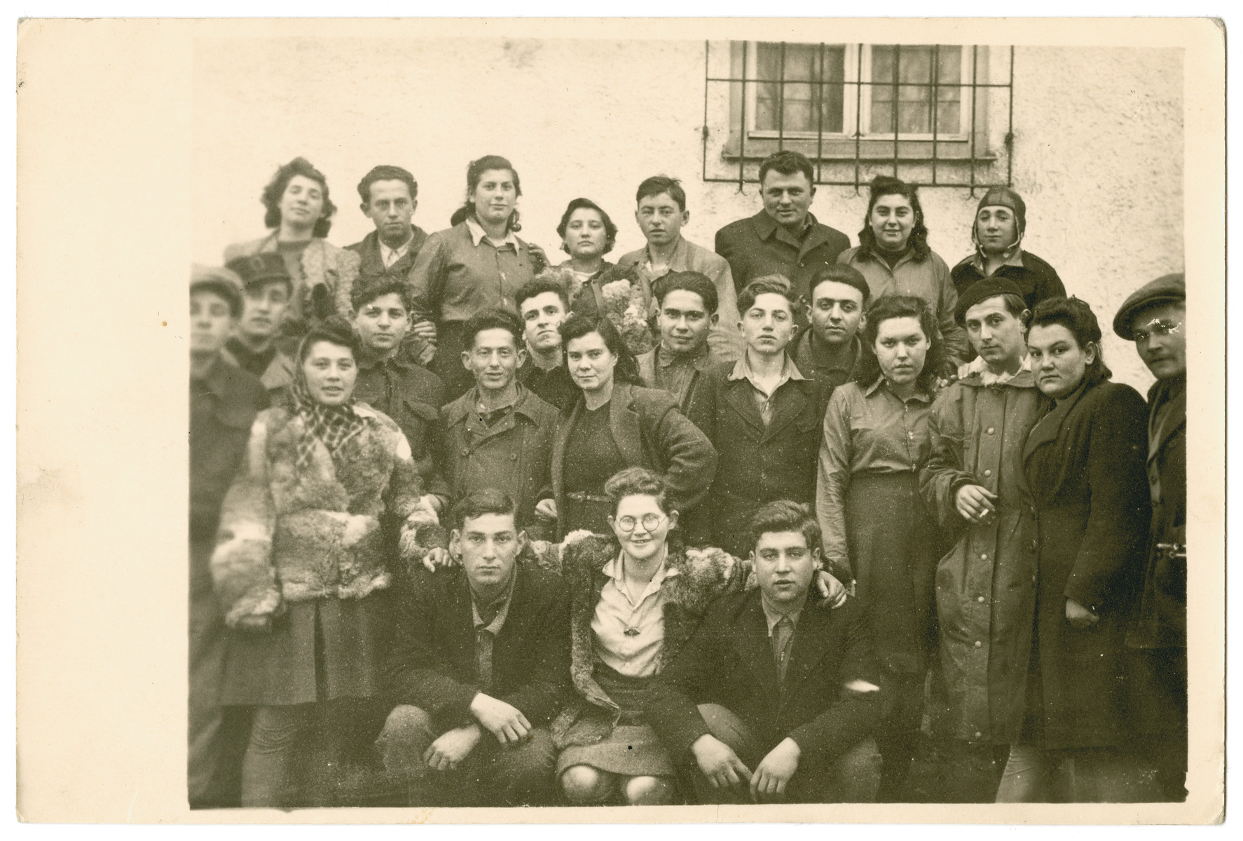 Group portrait of young people in the Landsberg displaced persons camp.