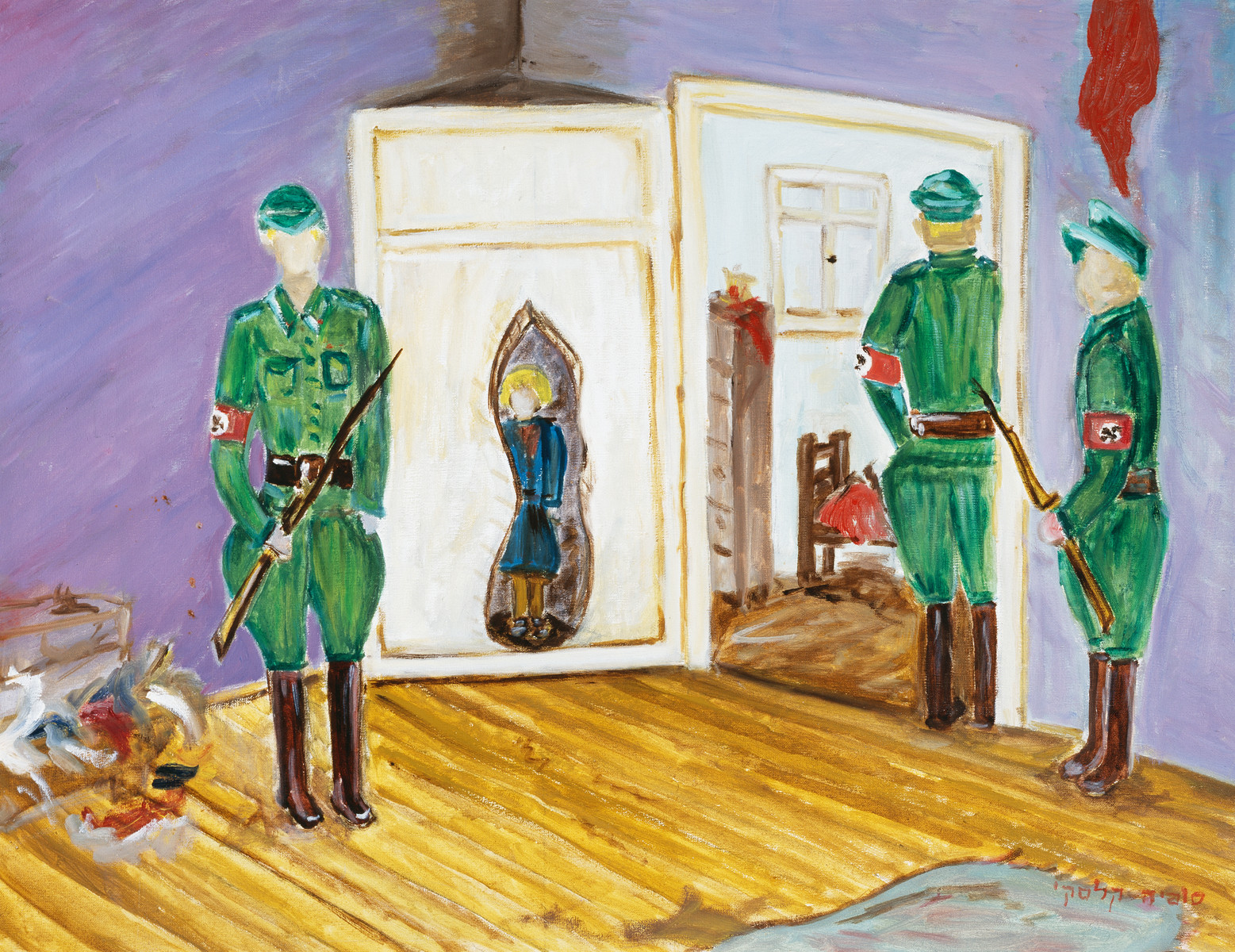 """A painting by artist Sophia Kalski depicting an image of the Lwow ghetto.   The artist writes """"In the winter of 1943, in the city of Lwow, during the aktion, I didn't have time to hide in the bunker or in the basement and I was forced to hide behind the door of an abandoned house for 24 hours without food, without drink, standing. I was so lucky that according to the best of my knowledge, three Germans entered the room inside the house, and they saw  that it was empty. Two Germans immediately left outside, and the third one wanted to continue the search. He wanted to close the door, but to my great fortune, his superior called him, so he left the door alone and he didn't see me, and that is how I survived."""""""