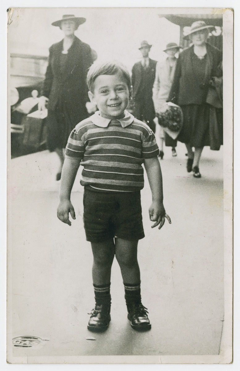 Nathan Brender poses for a picture on the streets of Sydney, Australia.  After Kristallnacht, the Brender family fled to Sydney to escape persecution.