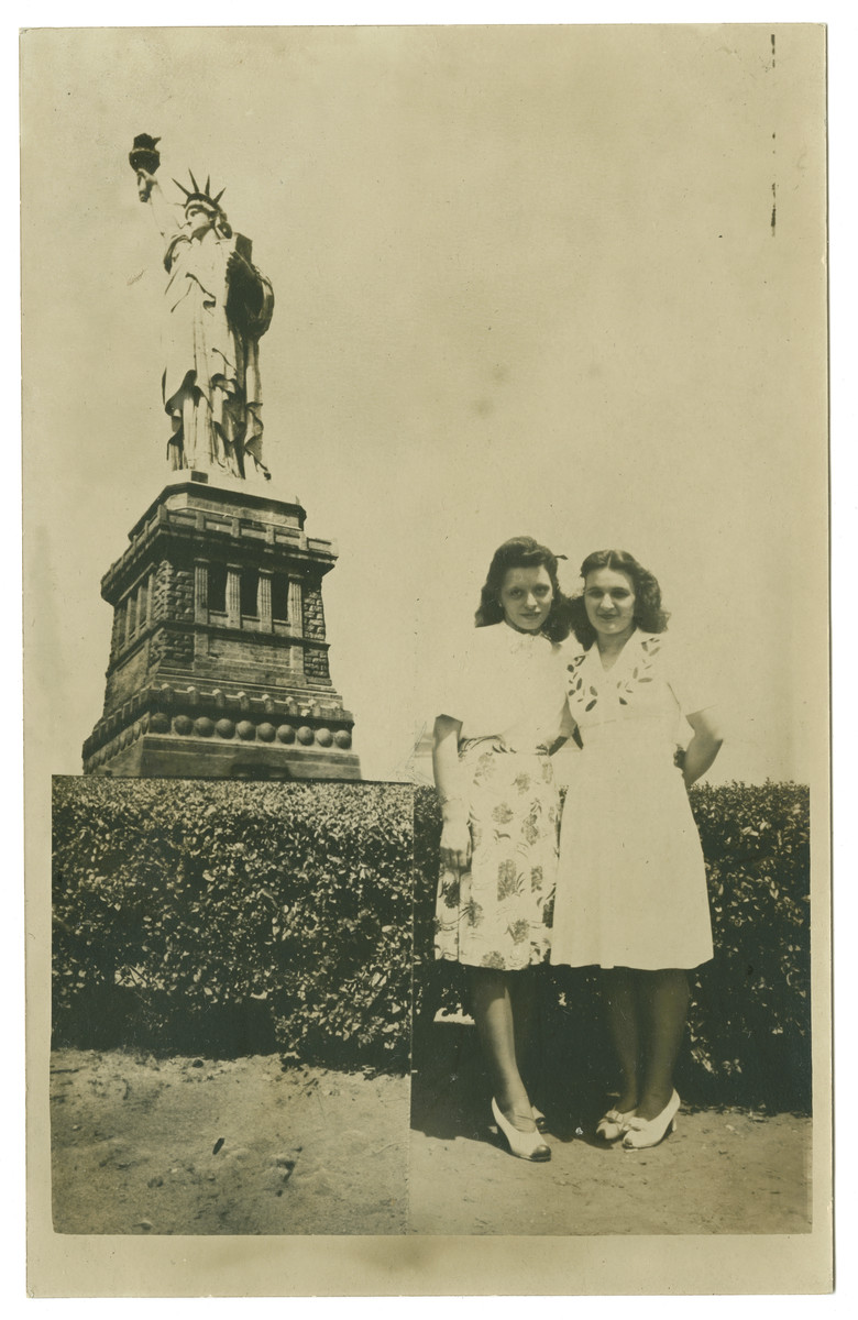 Doris Edelman (nee Tager) (on the right) poses with a friend during a visit to the Statue of Liberty.