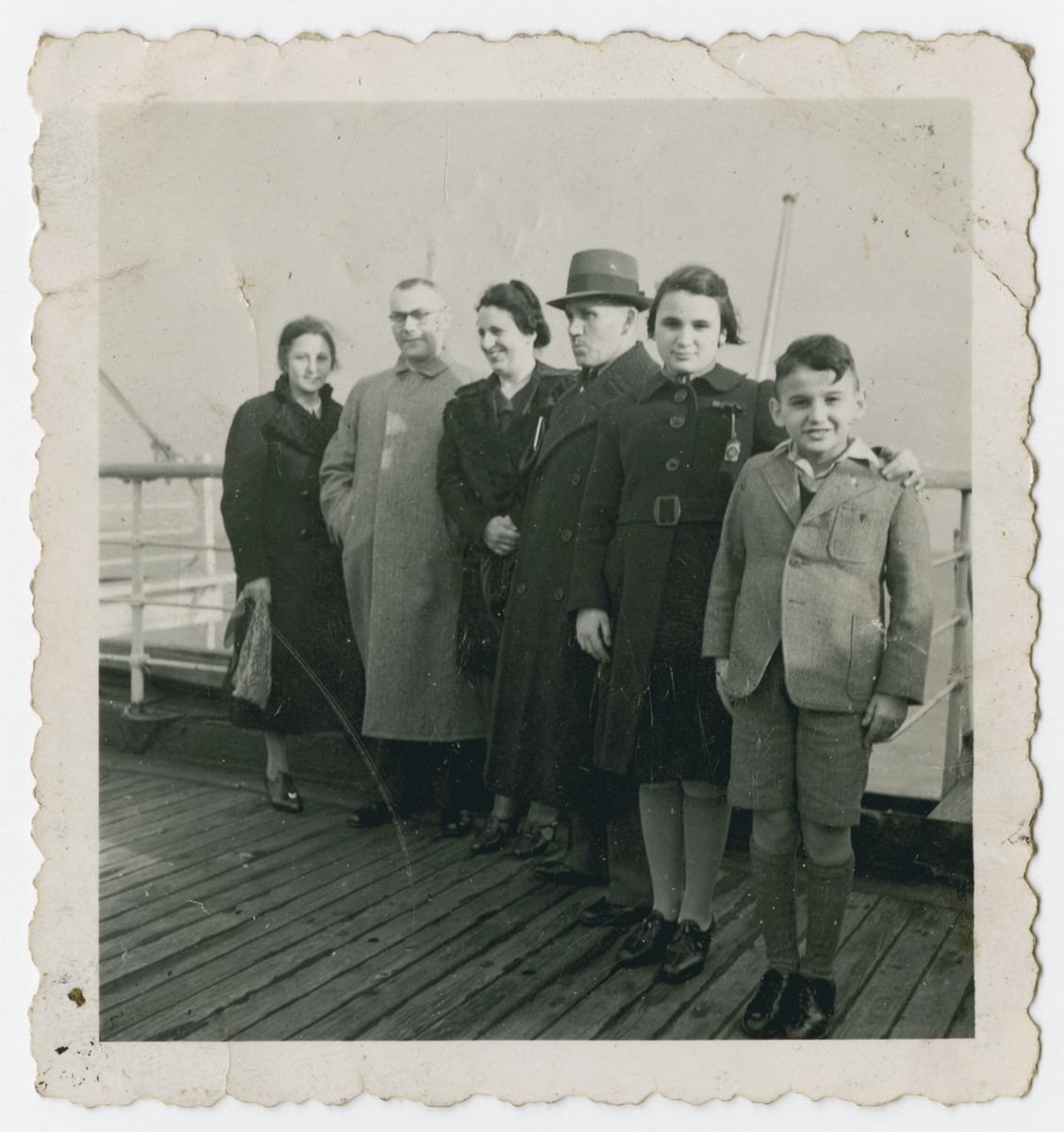 The Tager on board the Rotterdam ship to Cuba.   From Left to Right: Unkown, Unkown, Fanny Tager, Jacob Tager, Doris Tager, and Henry Tager.