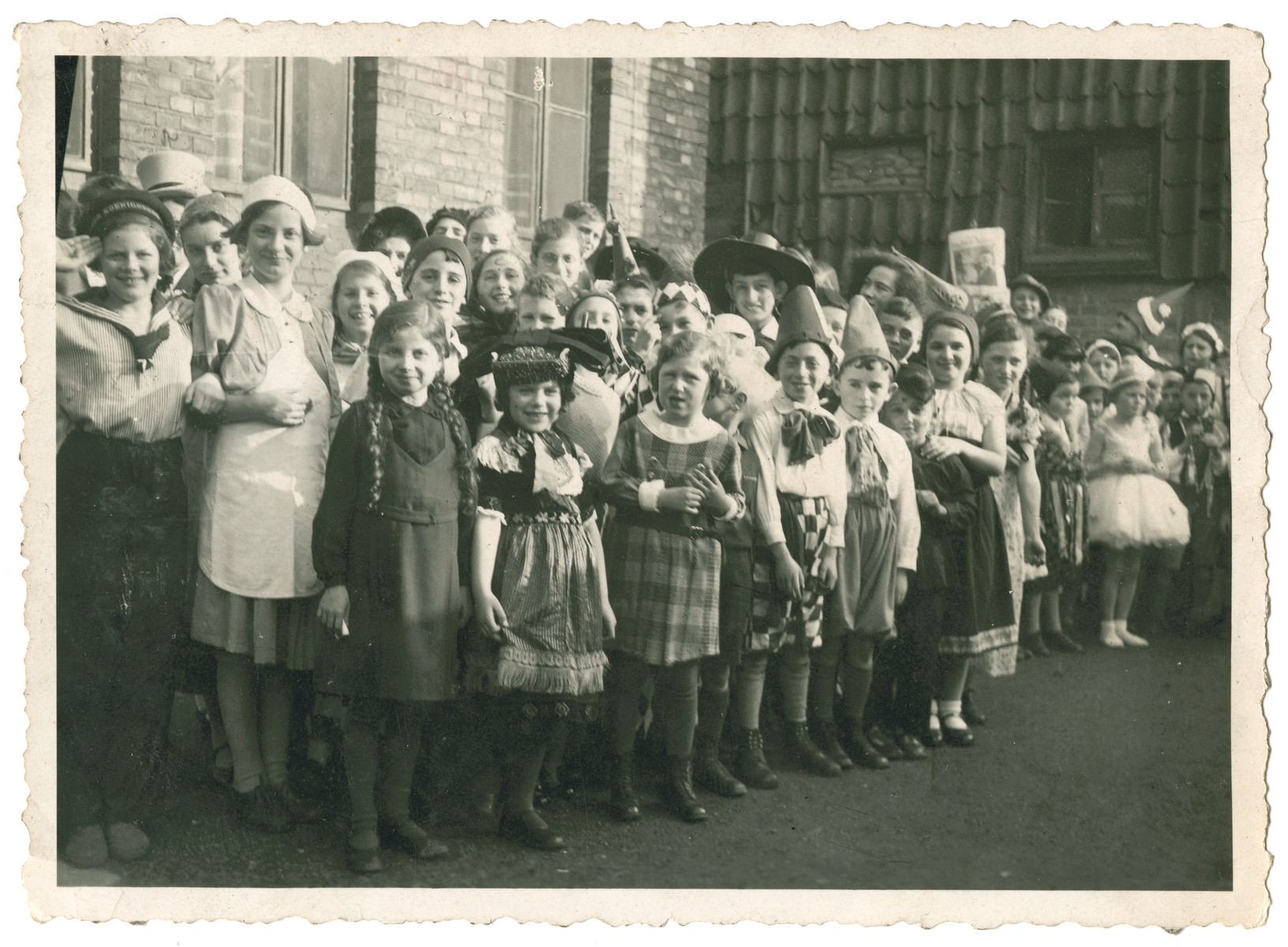 Possibly the class of Doris Edelman (nee Tager) celebrating the Jewish holiday of Purim in Germany.