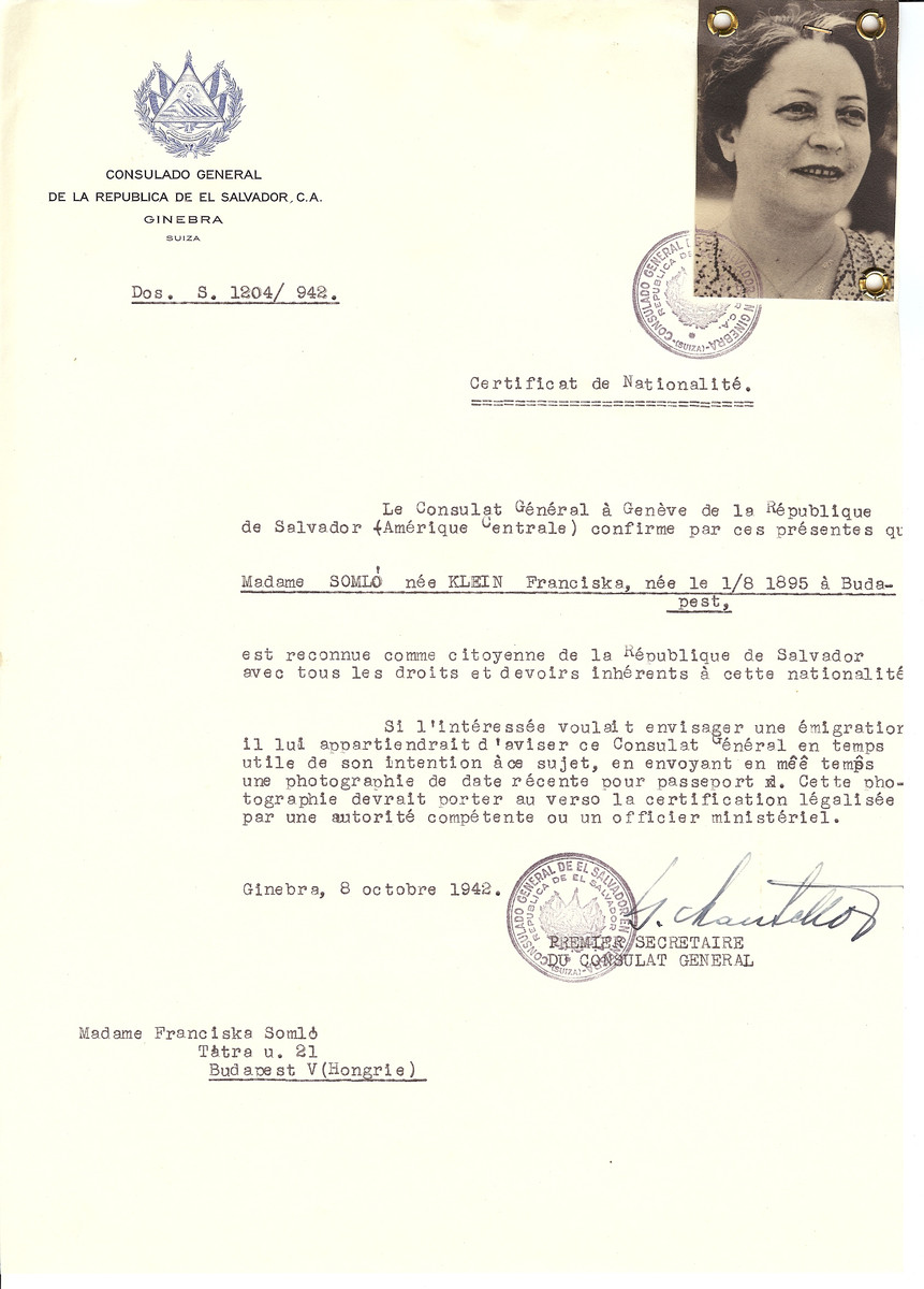 Unauthorized Salvadoran citizenship certificate issued to Franciska (nee Klein) Somlo (b. August 1, 1895 in Budapest) by George Mandel-Mantello, First Secretary of the Salvadoran Consulate in Switzerland and sent to her in Budapest.