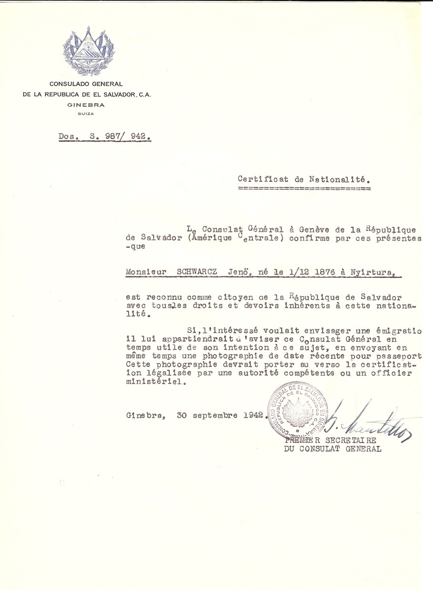 Unauthorized Salvadoran citizenship certificate issued to Jeno Schwarcz (b. December, 1, 1876 in Nyirture) by George Mandel-Mantello, First Secretary of the Salvadoran Consulate in Switzerland.