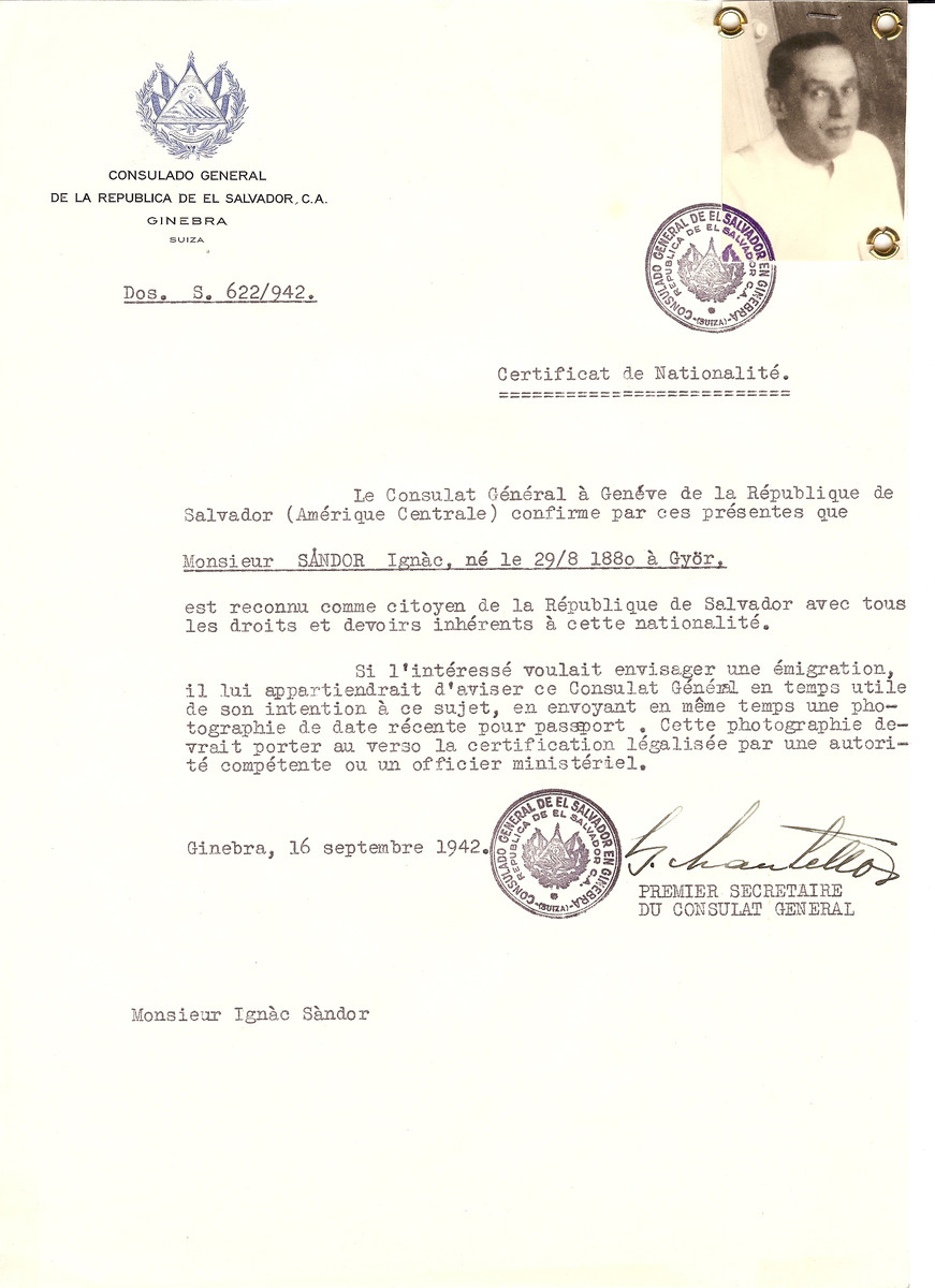 Unauthorized Salvadoran citizenship certificate issued to Ignac Sandor (b. August 29, 1880 in Gyor) by George Mandel-Mantello, First Secretary of the Salvadoran Consulate in Switzerland.