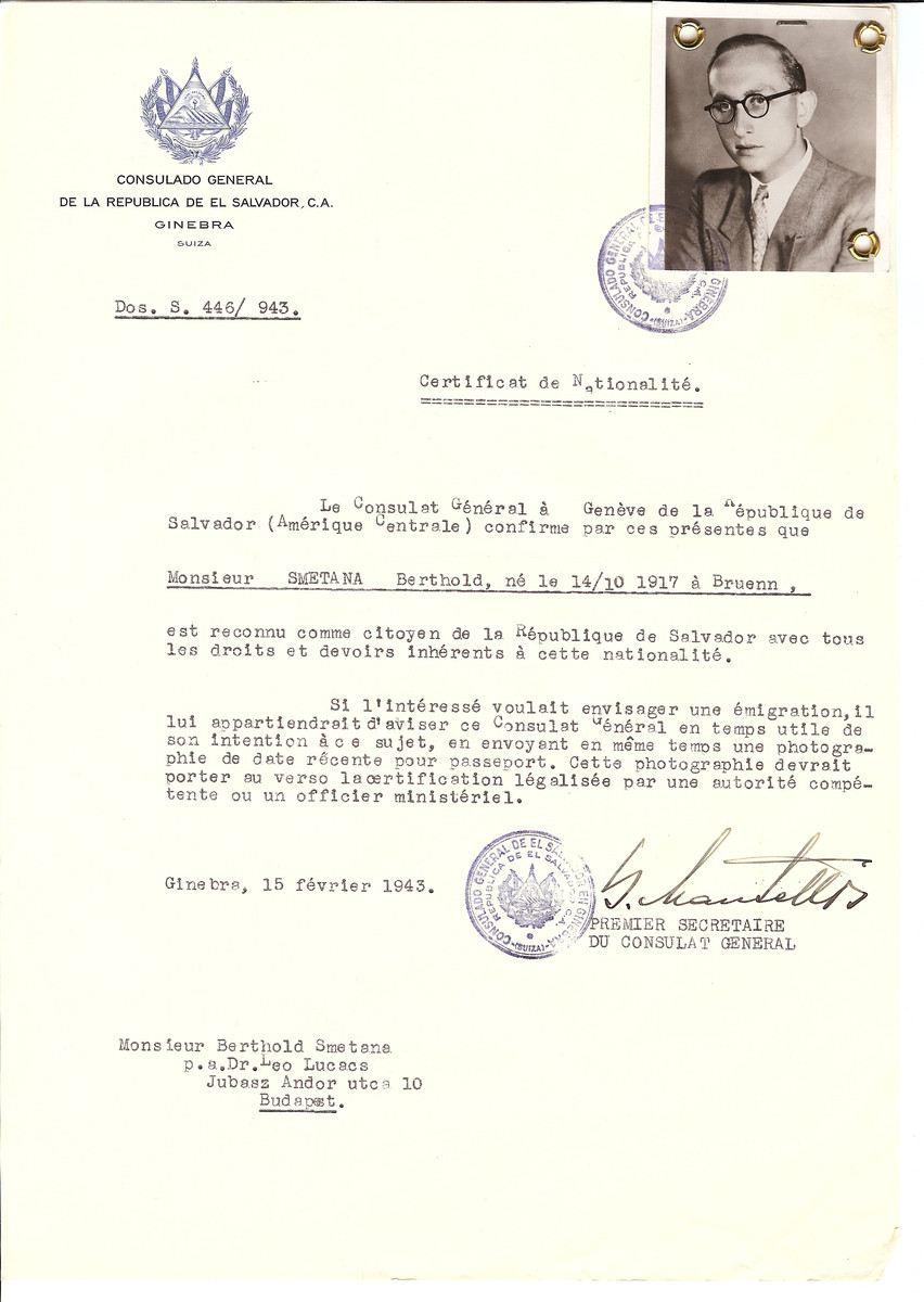 Unauthorized Salvadoran citizenship certificate issued to Berthold Smetana (b. October 14, 1917 in Bruenn) by George Mandel-Mantello, First Secretary of the Salvadoran Consulate in Switzerland and sent to him in Budapest.
