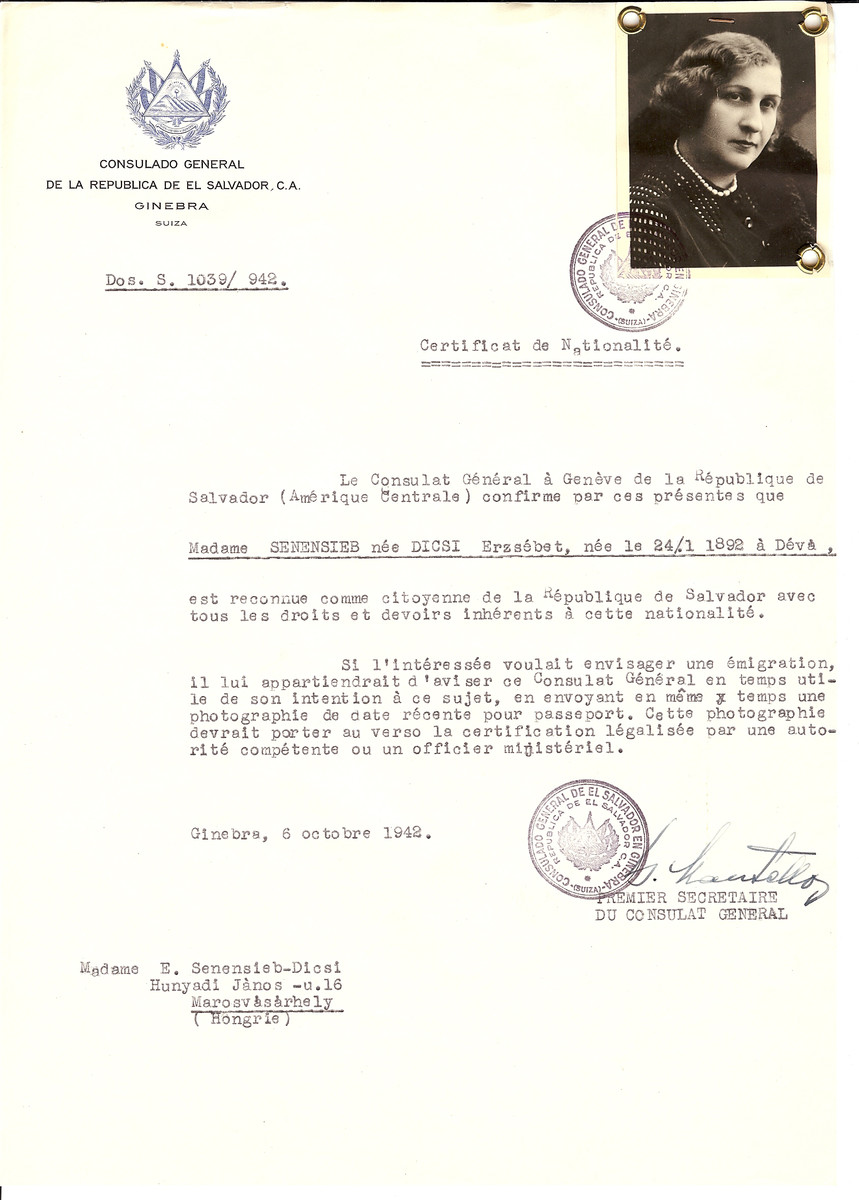 Unauthorized Salvadoran citizenship certificate issued to Erzsebet (nee Dicsi) Senensieb (b. January 24, 1892 in Deva) by George Mandel-Mantello, First Secretary of the Salvadoran Consulate in Switzerland and sent to her in Marosvasarhely.