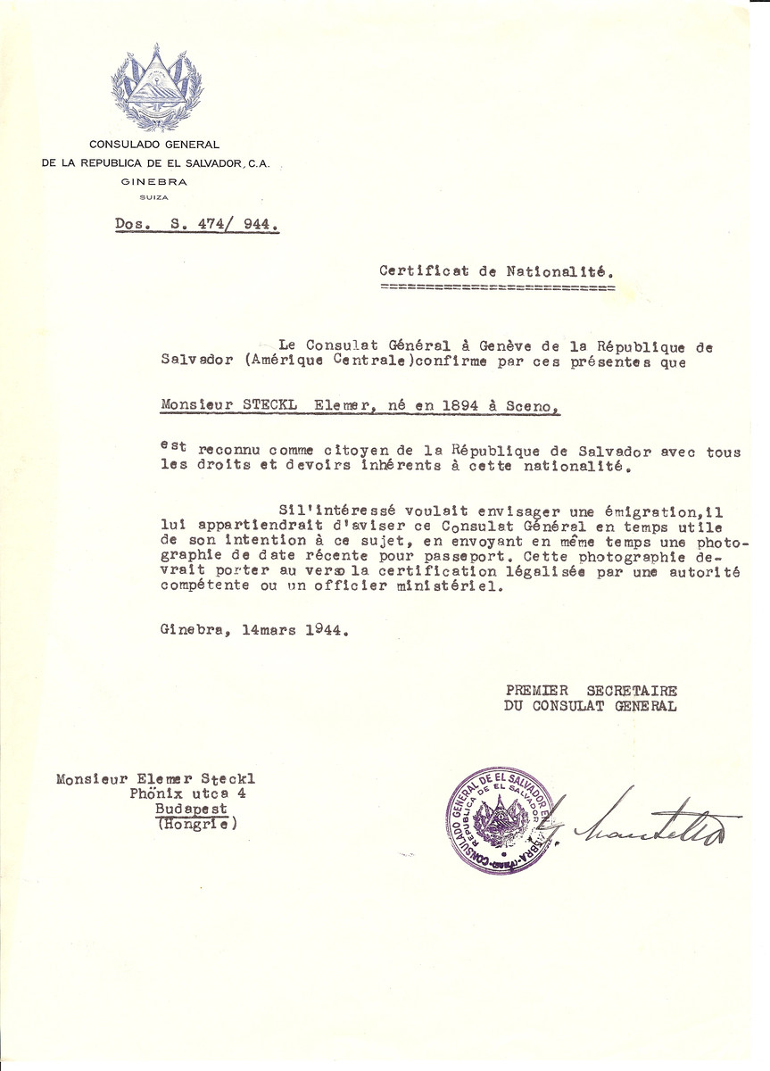 Unauthorized Salvadoran citizenship certificate issued to Elemer Steckl (b. 1894 in Sceno) by George Mandel-Mantello, First Secretary of the Salvadoran Consulate in Switzerland and sent to him in Budapest.