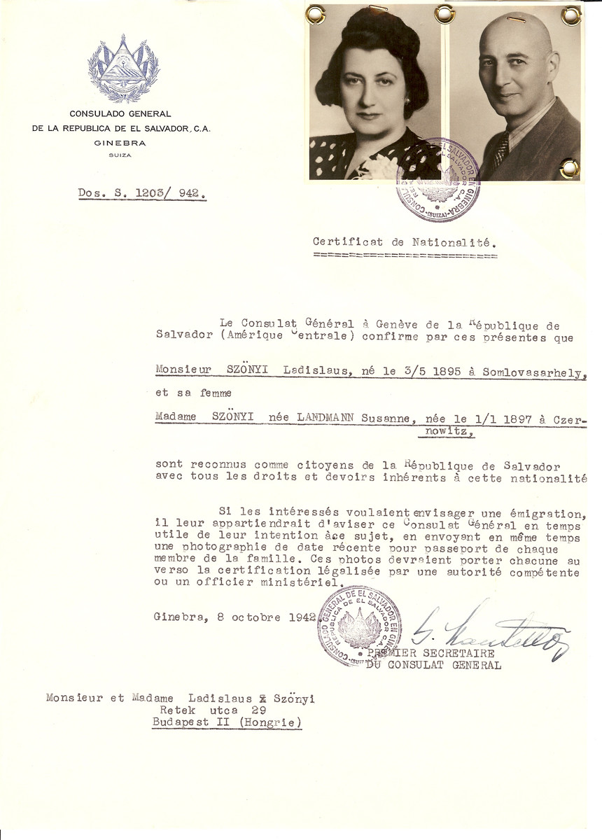 Unauthorized Salvadoran citizenship certificate issued to Ladislaus Szonyi (b. May 3, 1895 in Somlovasarhely) and his wife Susanne (nee Landmann) Szonyi (b. January 1, 1897 in Czernowitz) by George Mandel-Mantello, First Secretary of the Salvadoran Consulate in Switzerland and sent to them in Budapest.
