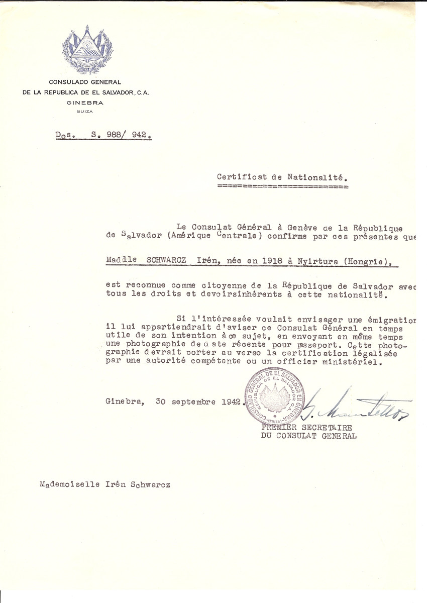 Unauthorized Salvadoran citizenship certificate issued to Iren Schwarcz (b. 1918 in Nyirture) by George Mandel-Mantello, First Secretary of the Salvadoran Consulate in Switzerland and sent to her in Budapest.