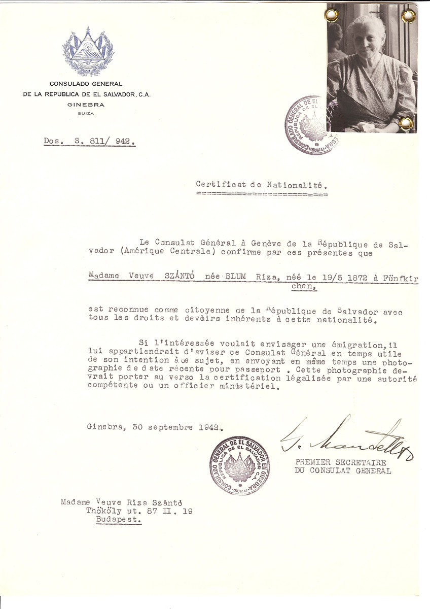 Unauthorized Salvadoran citizenship certificate issued to Rize (nee Blum) Szanto (b. May 19, 1872 in Funfkirchen) by George Mandel-Mantello, First Secretary of the Salvadoran Consulate in Switzerland and sent to her in Budapest.