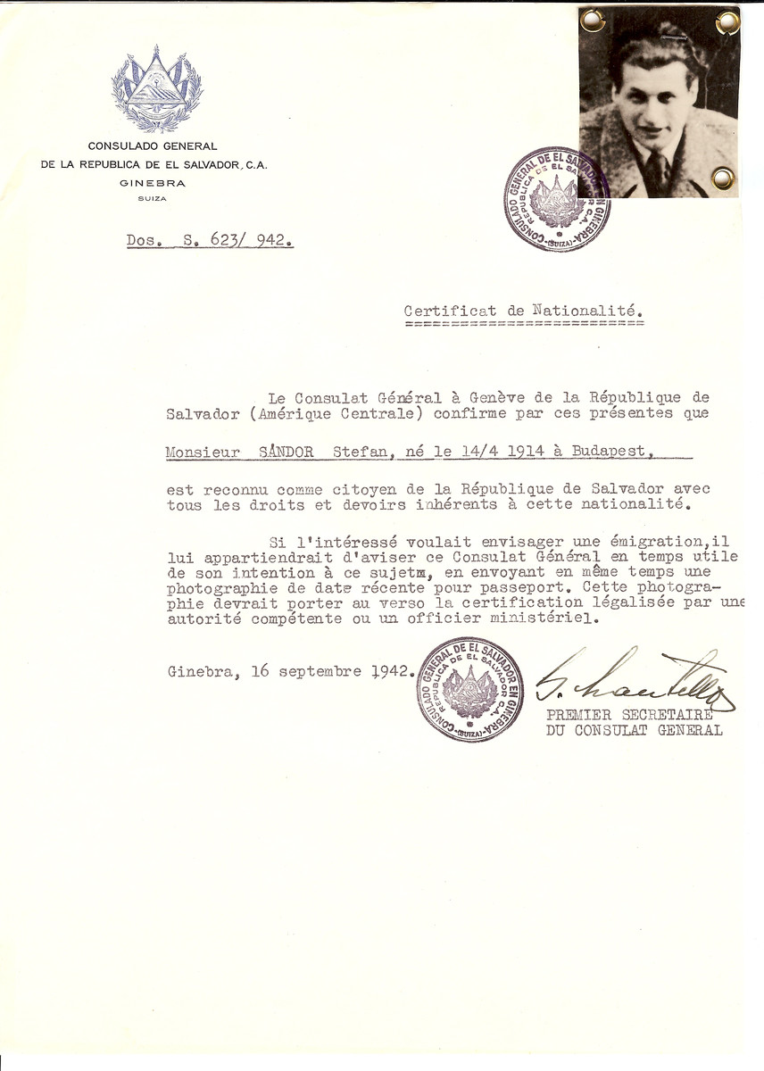 Unauthorized Salvadoran citizenship certificate issued to Stefan Sandor (b. April 14, 1914 in Budapest) by George Mandel-Mantello, First Secretary of the Salvadoran Consulate in Switzerland.