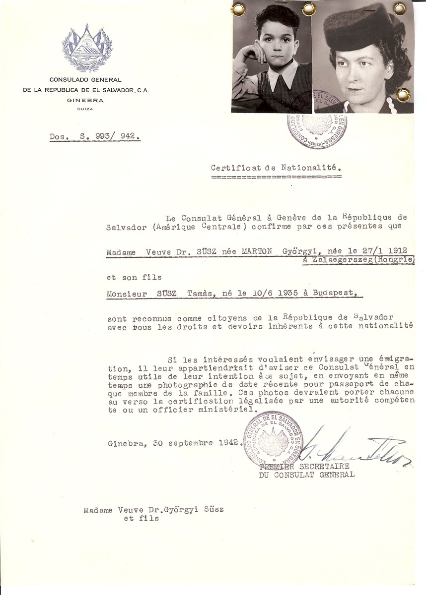 Unauthorized Salvadoran citizenship certificate issued to Dr. Gyorgyi (nee Marton) Susz (b. January 27, 1912 in Zalaegerszeg) and her son Tamas (b. June 10, 1935) by George Mandel-Mantello, First Secretary of the Salvadoran Consulate in Switzerland.