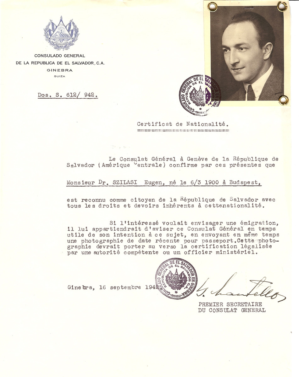 Unauthorized Salvadoran citizenship certificate issued to Eugen Szilasi (b. March 6, 1900 in Budapest) by George Mandel-Mantello, First Secretary of the Salvadoran Consulate in Switzerland.