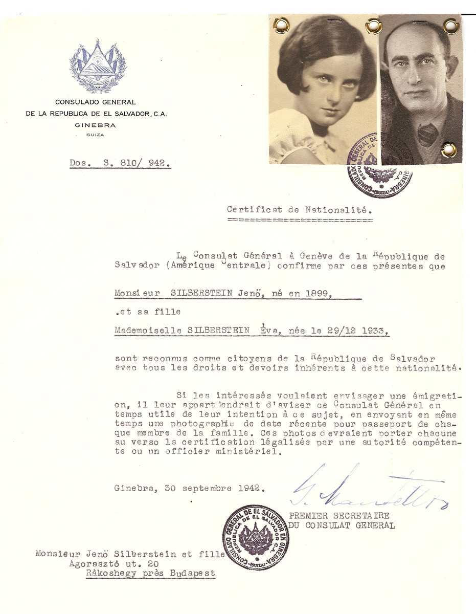 Unauthorized Salvadoran citizenship certificate issued to Jano Silberstein (b. 1899) and his daughter Eva (b. December 29, 1933) by George Mandel-Mantello, First Secretary of the Salvadoran Consulate in Switzerland and sent to them in Budapest.