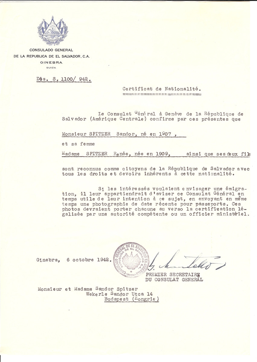 Unauthorized Salvadoran citizenship certificate issued to Sandor Spitzer (b. 1907), his wife Renee Spitzer (b. 1909) and their two sons by George Mandel-Mantello, First Secretary of the Salvadoran Consulate in Switzerland and sent to them in Budapest.