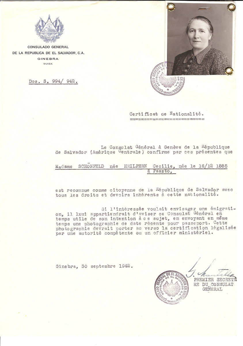 Unauthorized Salvadoran citizenship certificate issued to Cecilie (nee Heilpern) Schonfeld (b. December 16, 1885 in Paszto) by George Mandel-Mantello, First Secretary of the Salvadoran Consulate in Switzerland.