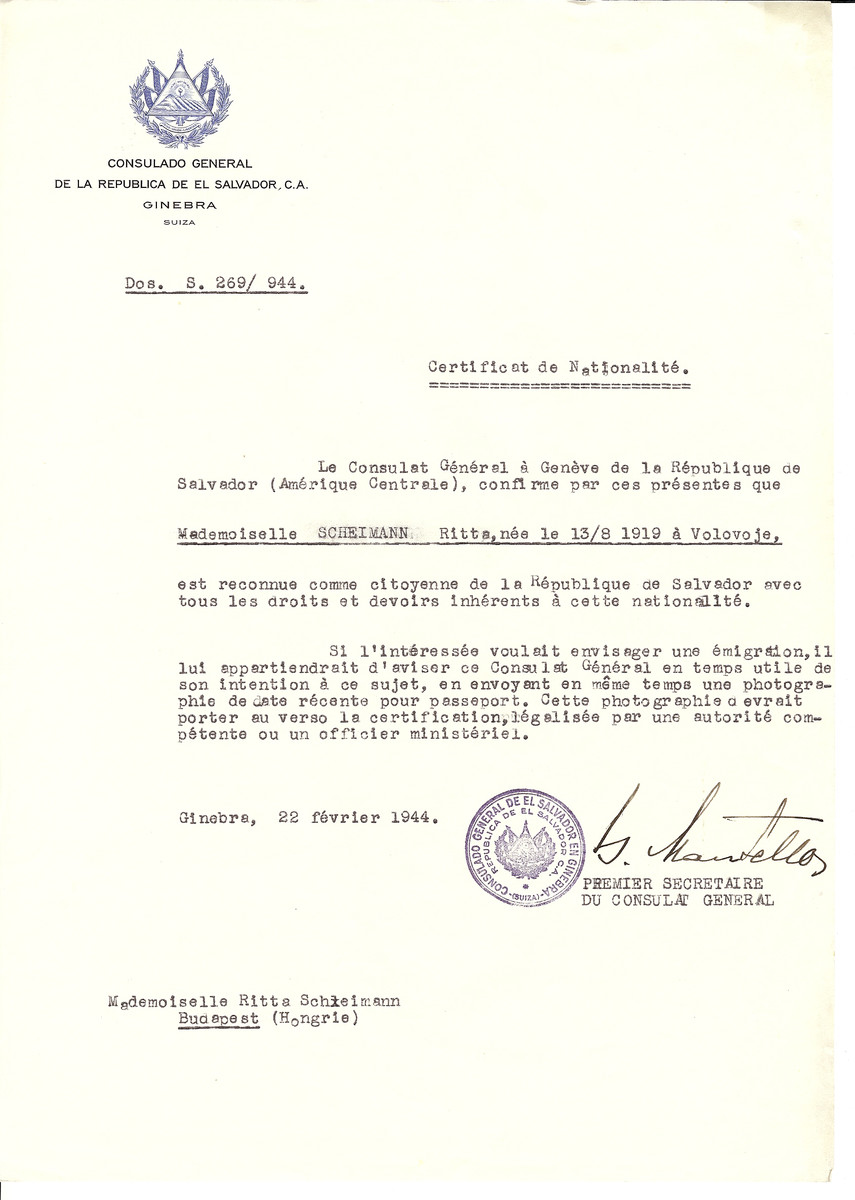 Unauthorized Salvadoran citizenship certificate issued to Ritta Scheimann (b. August 13, 1919 in Volovoje) by George Mandel-Mantello, First Secretary of the Salvadoran Consulate in Switzerland and sent to her in Budapest.
