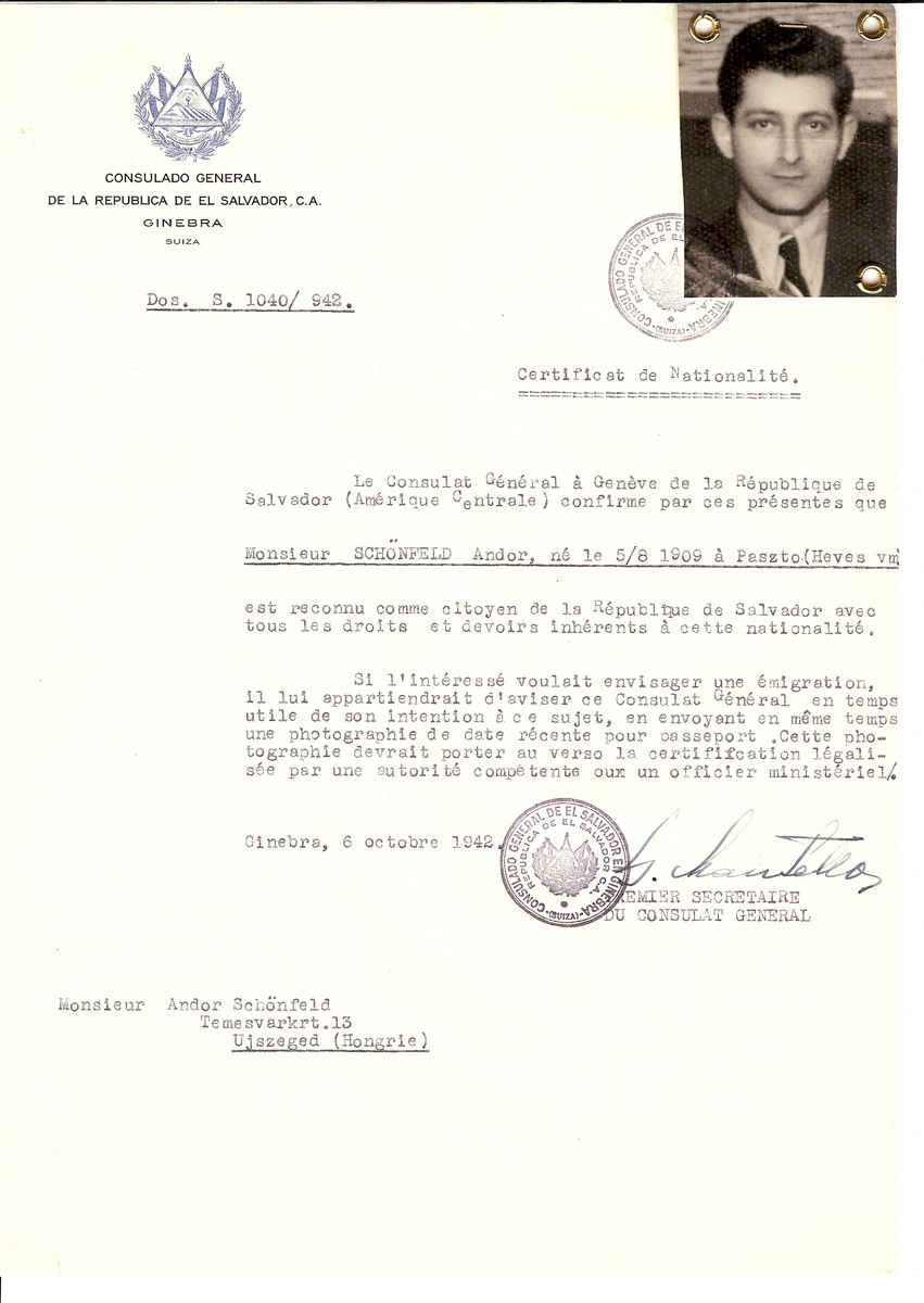 Unauthorized Salvadoran citizenship certificate issued to Andor Schonfeld (b. August 5, 1909 in Paszto) by George Mandel-Mantello, First Secretary of the Salvadoran Consulate in Switzerland and sent to him in Ujszeged.