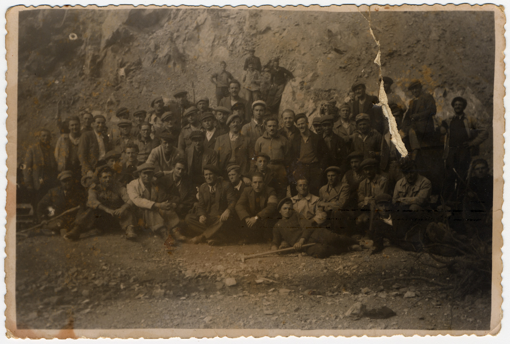Group portrait of Jewish forced laborers in Bulgaria.