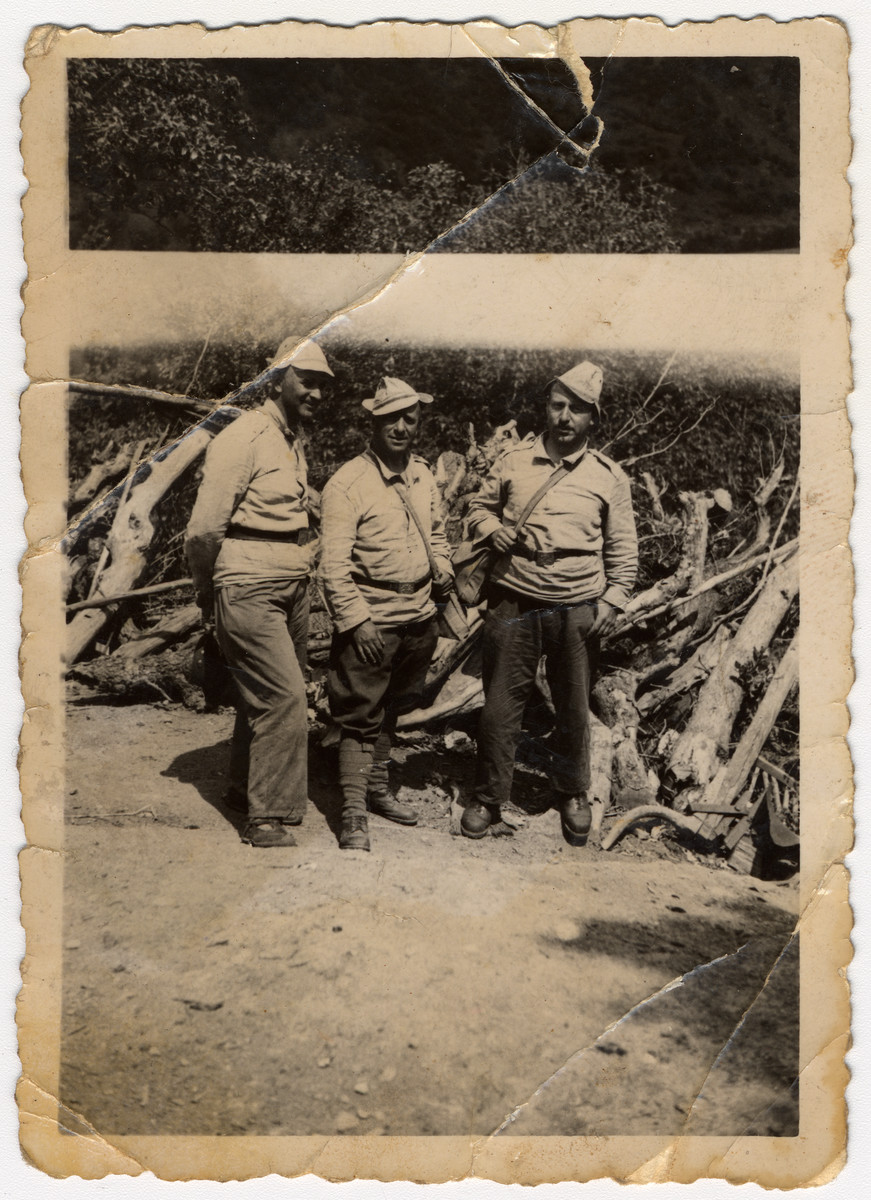 Three Jewish forced laborers poses next to a pile of wood in Bulgaria.