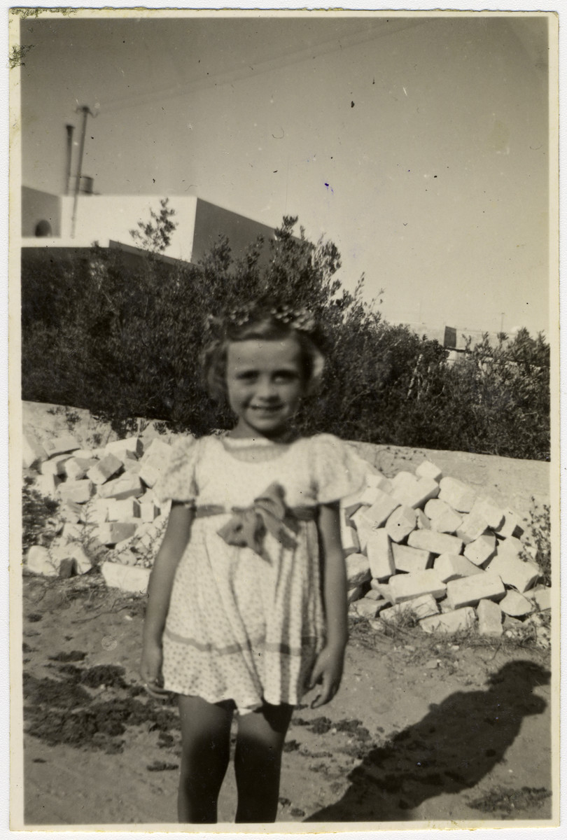 Dalia Bogler poses on her 6th birthday.  This photograph was sent from Israel to Wili Bogler, the uncle of the girl, in the Eschwege displaced persons' camp.