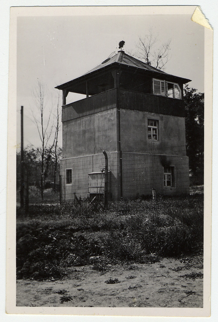 A watch tower in the Buchenwald concentration camp.