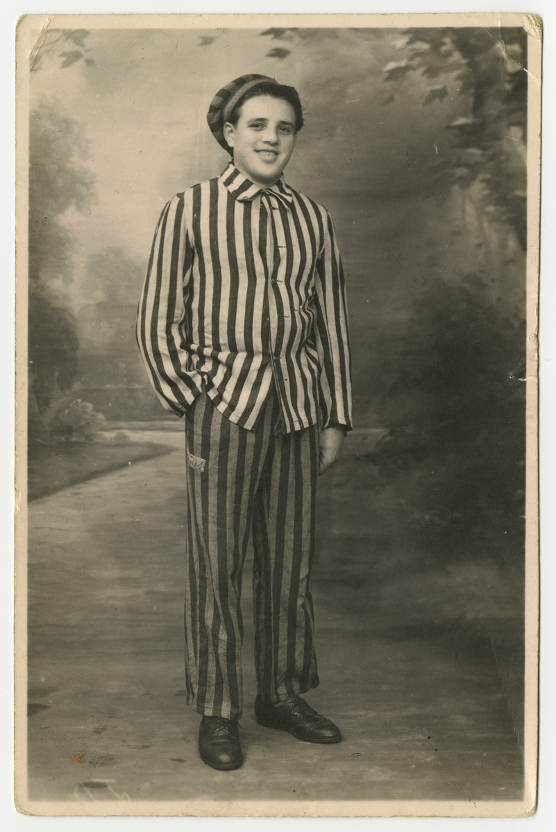 Studio portrait sent from Bruno posed in his concentration camp.  The original German caption says it is a souvenir to remember what was done by the German state, enemy #1.