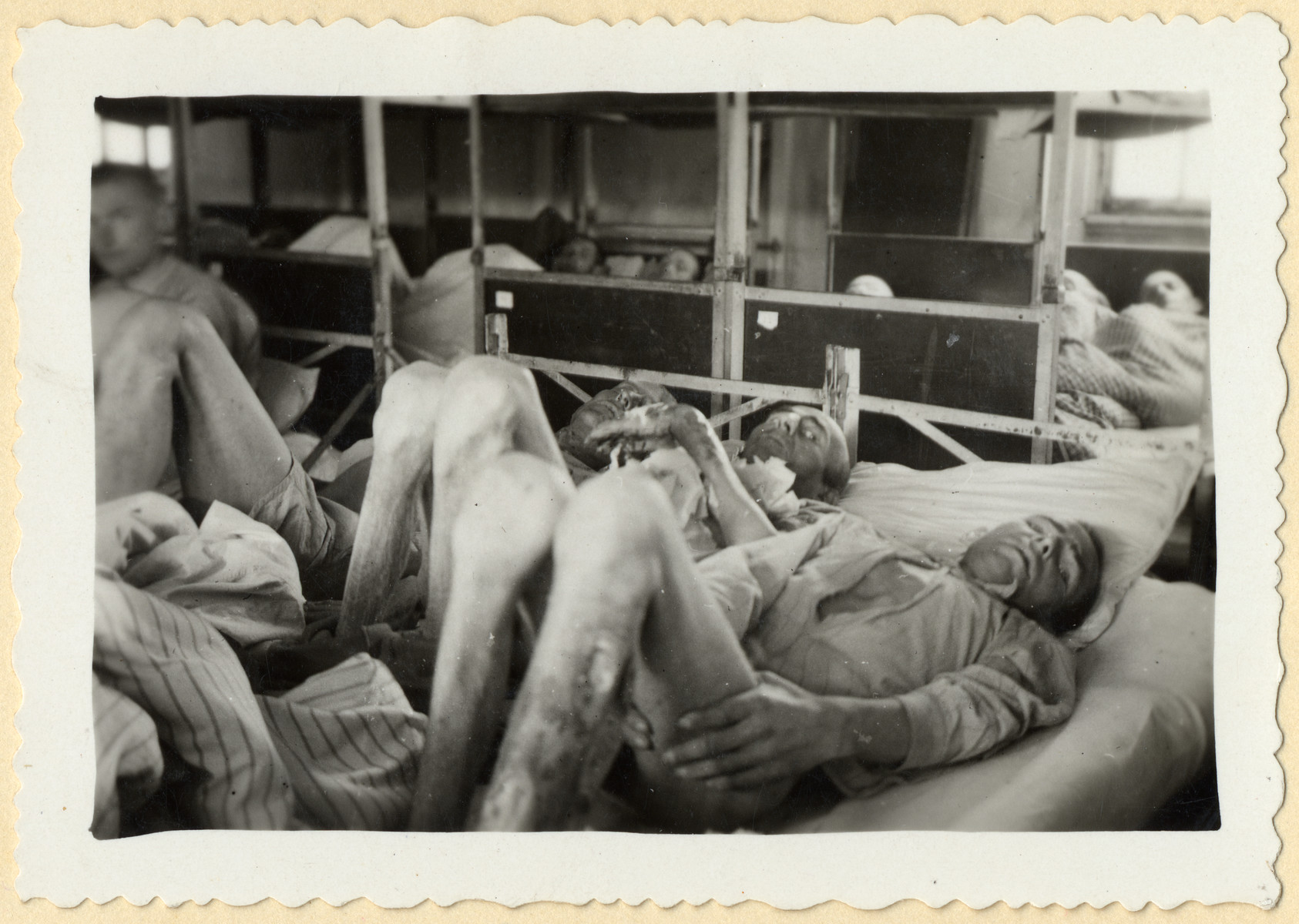 Starving prisoners lie on their bunks in the Dachau concentration camp shortly after liberation.  Among those pictured is Stanislaw Przedborski (tentatively identified, third from the right on the bed in the foreground).