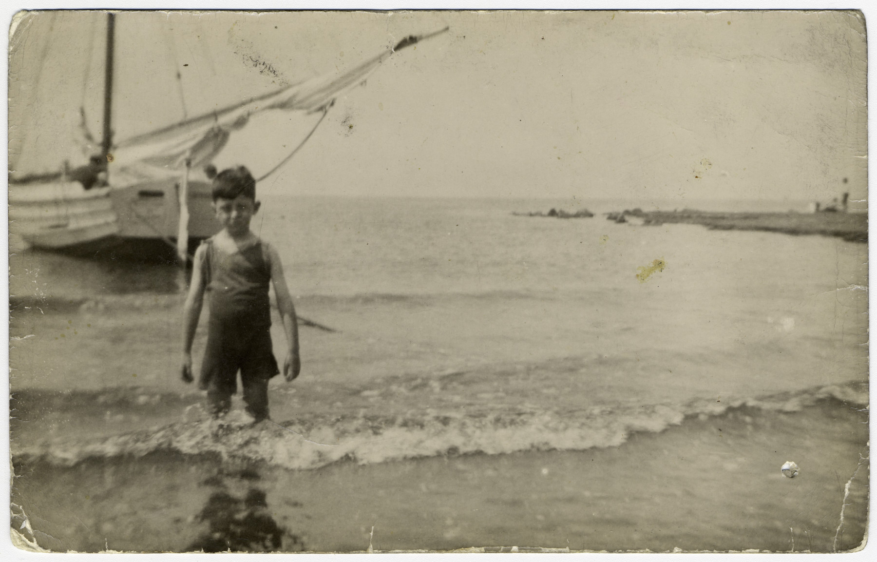 Louis Moses wades in the sea in prewar Netherlands.