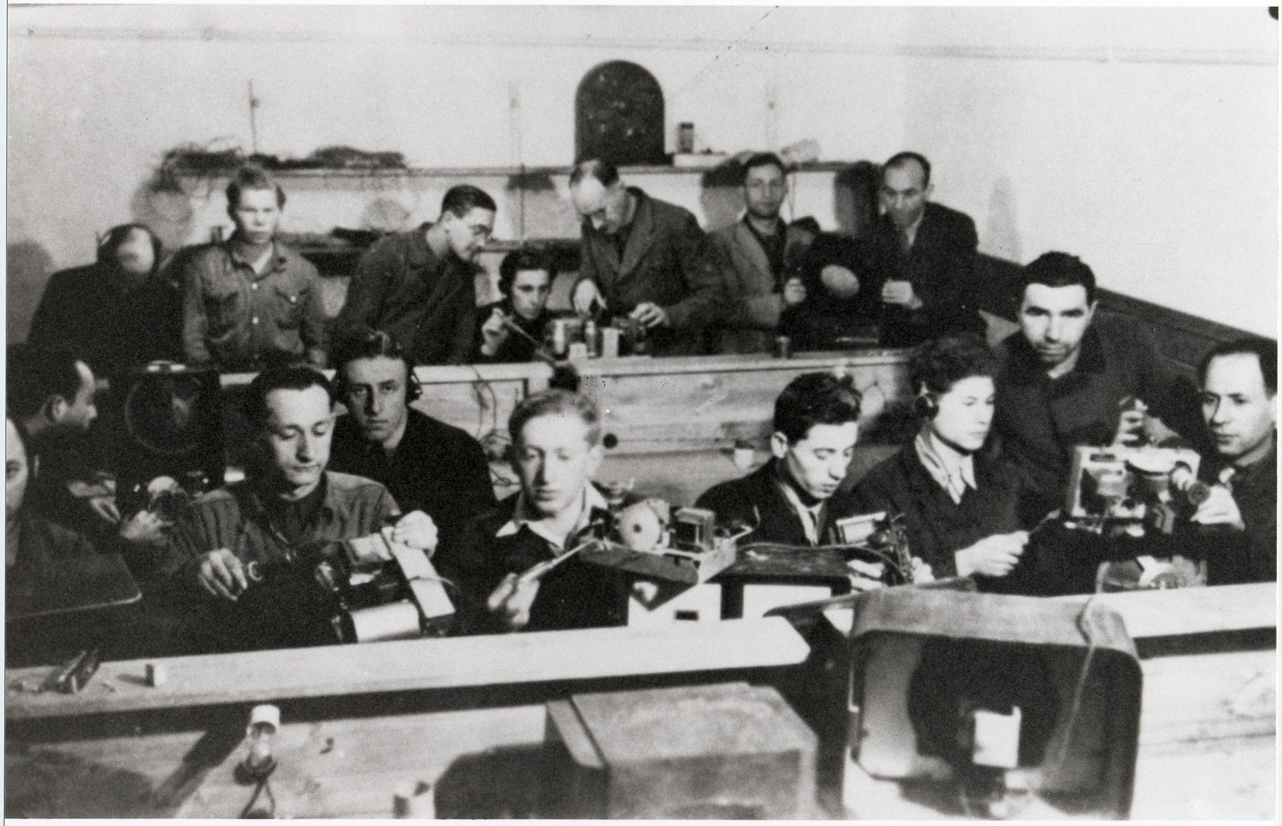 Jewish displaced persons learn how to fix machinery in an ORT vocational school in Landsberg.