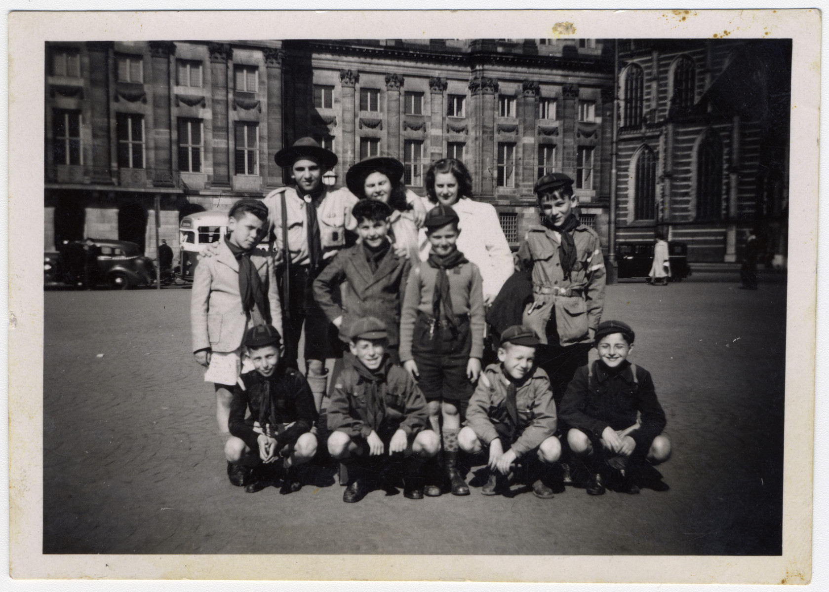 Group portrait of Dutch scouts taken after the war.