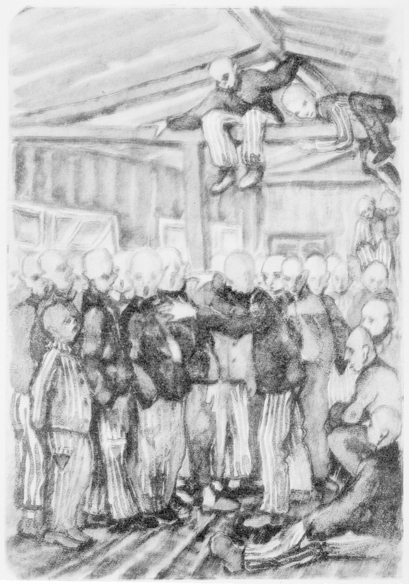"In 1942 in Dachau, an evening of song given by the Czechoslovakian camp choir was recorded in this drawing by Vladimir Matejka.   It was later published in ""Kopf hoch, Kamerad!"" Künstlerische Dokumente aus faschistischen Konzentrationslagern, (""Chin up, mate!"" Artistic documents from Nazi concentration camps)"