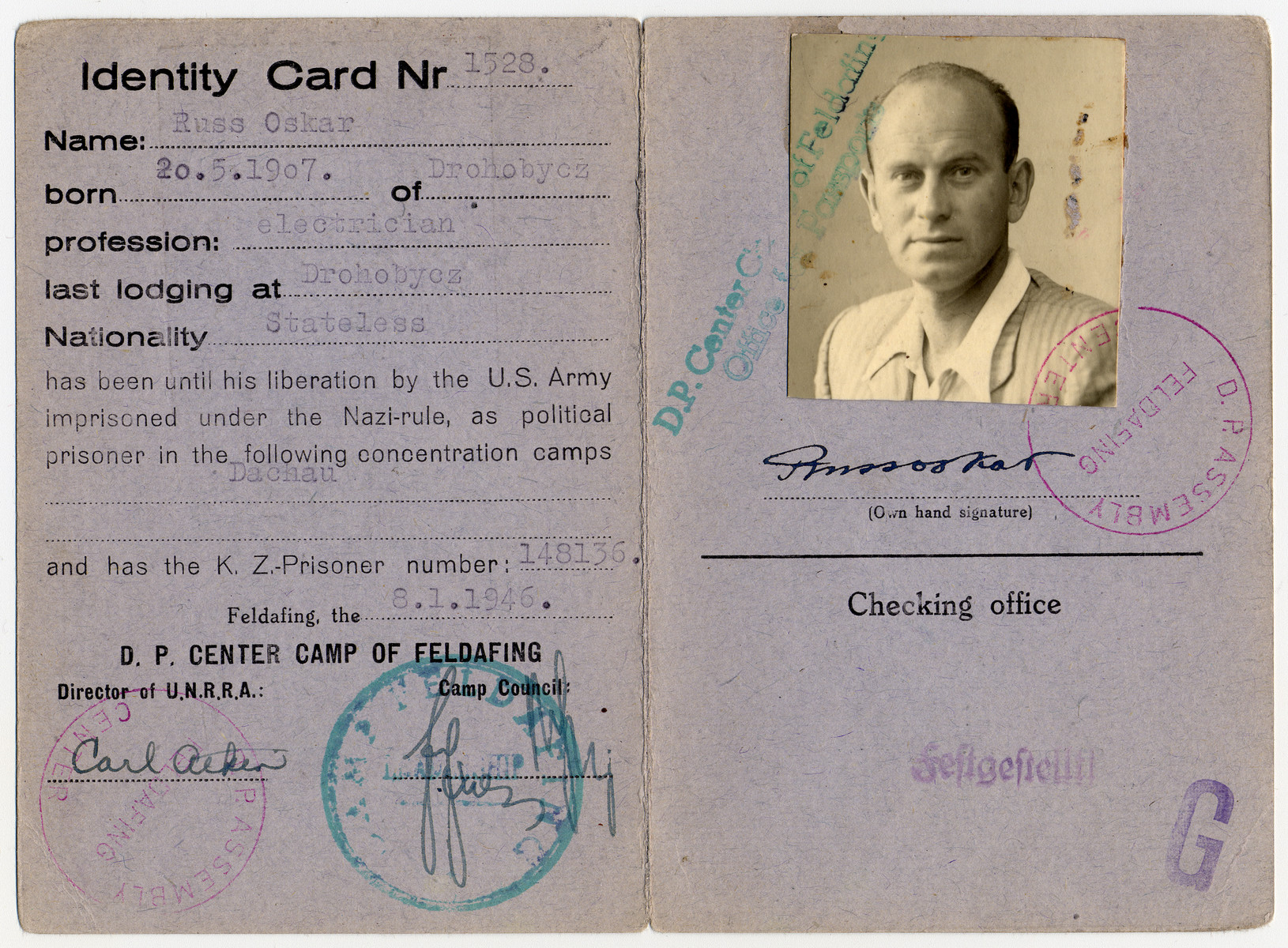 Identification card issued to Oskar Russ in the Feldafing displaced persons' camp.