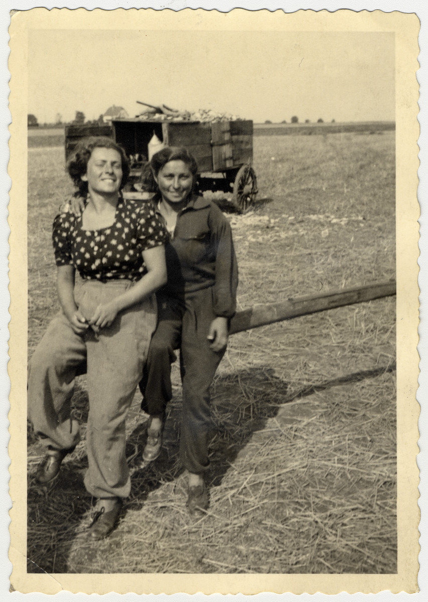 "Anna (""Anci"") Gluck and her friend Gulyas Lili work in a farm in Austria.  Anci Gluck was the second wife of Geza Kovacs.  She was born in Miskolc and deported to Austria to perform forced labor on a farm."