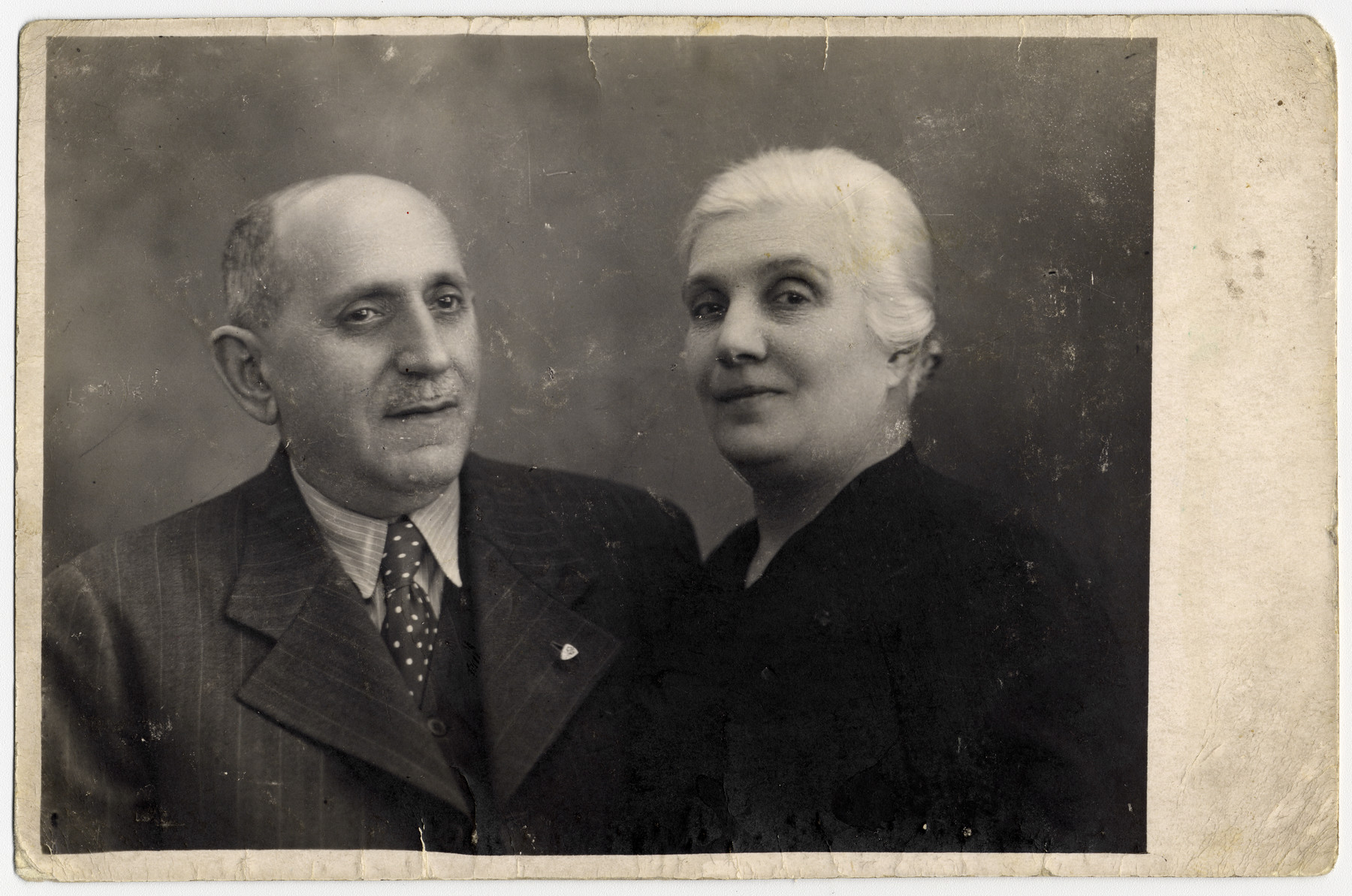 Studio portrait of Malvin (nee Mulhoffer) and Sandor Kohn, grandparents of the donor.  Both were killed in Auschwitz in June 1944.