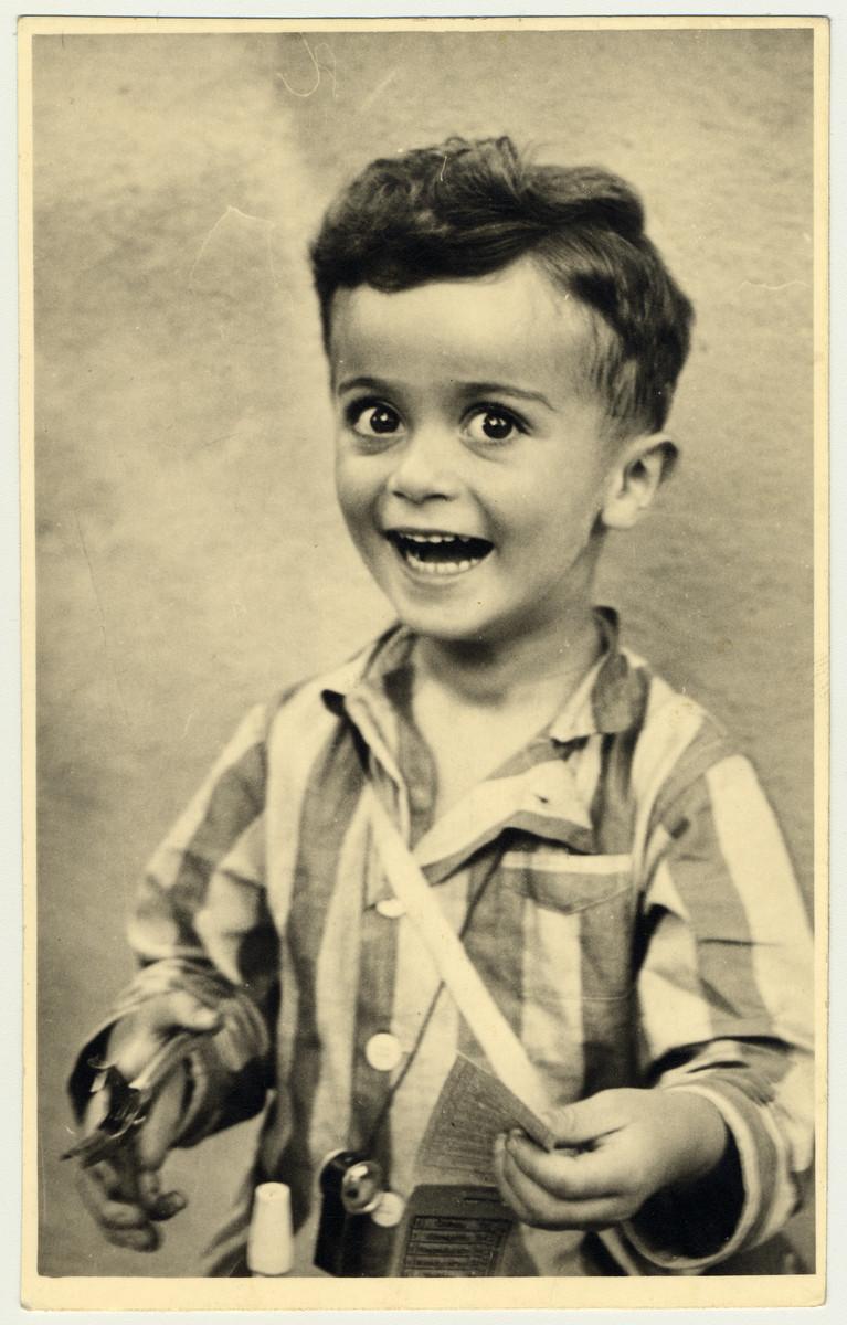 Studio portrait of Istvan Reiner, half-brother of the donor, taken shortly before he was killed in Auschwitz.