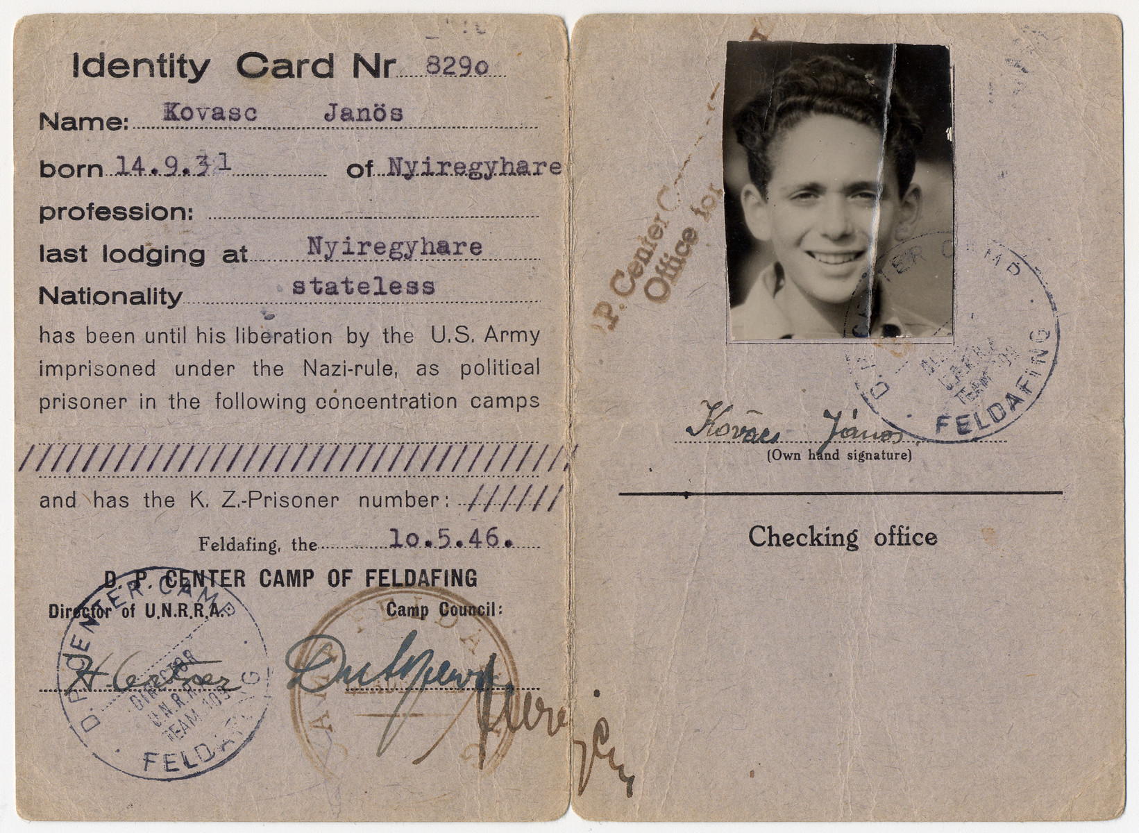 Identification card issued to Janos Kovacs in the Feldafing displaced persons' camp.