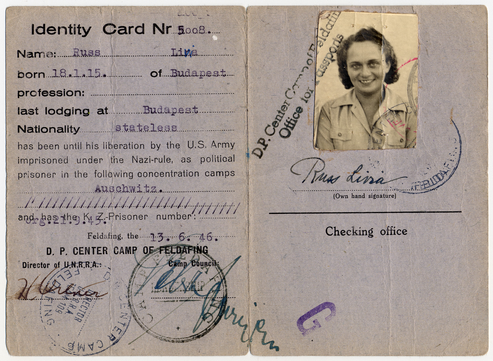 Identification card issued to Livia Russ in the Feldafing displaced persons' camp.