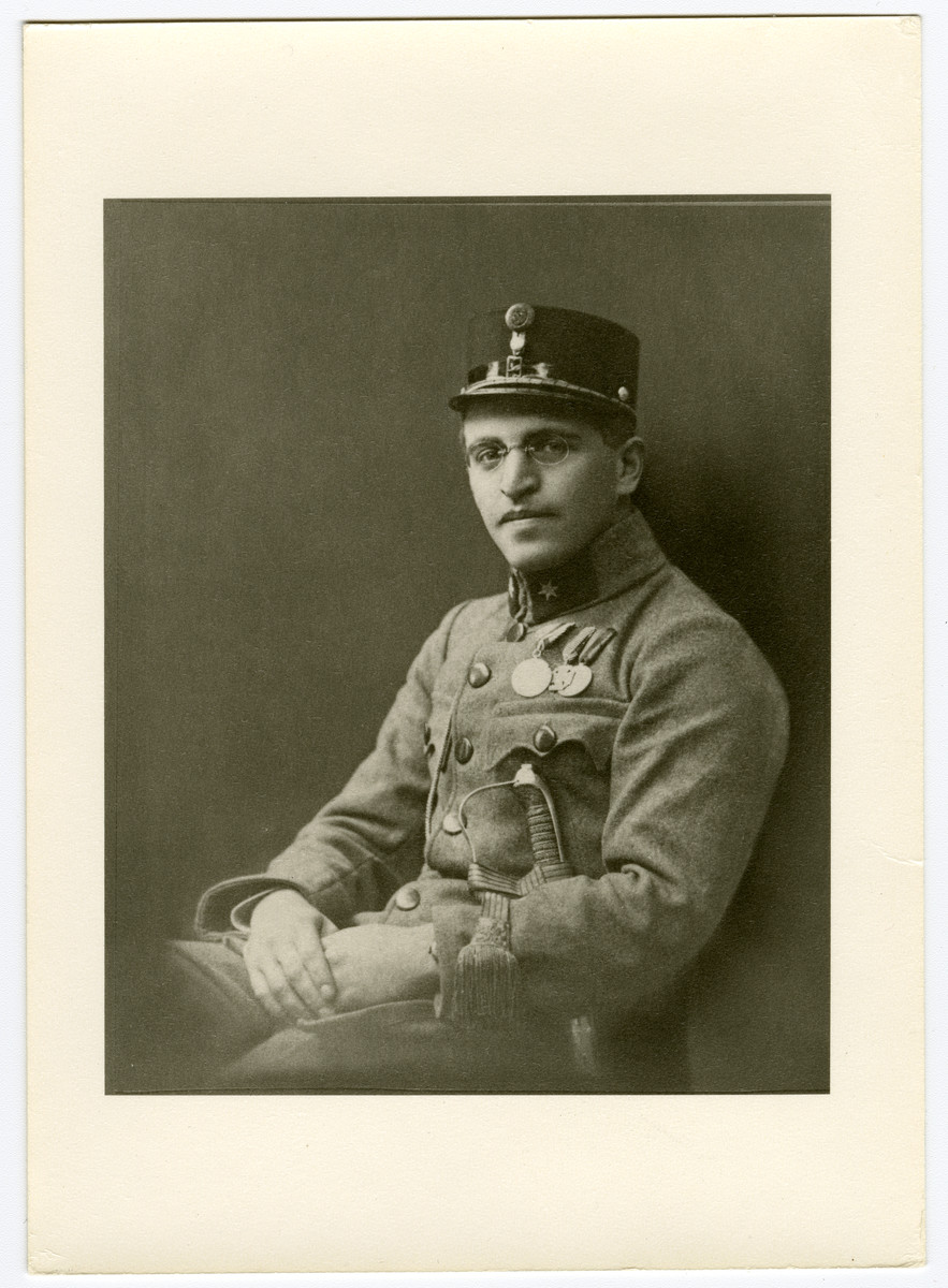 Studio portrait of Lajos Ornstein, a Jewish officer in the Austro-Hungarian army.