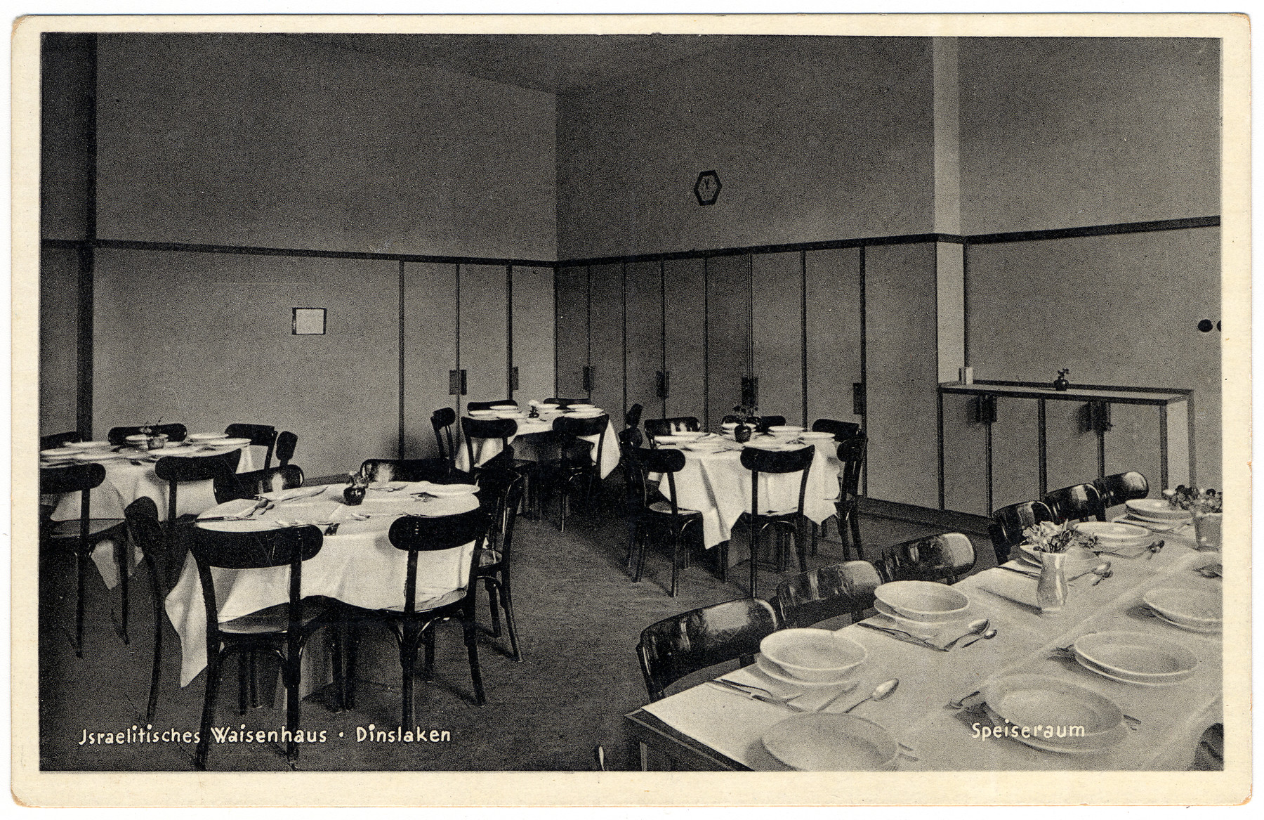 Interior view of the dining hall of the Dinslaken Jewish orphanage.