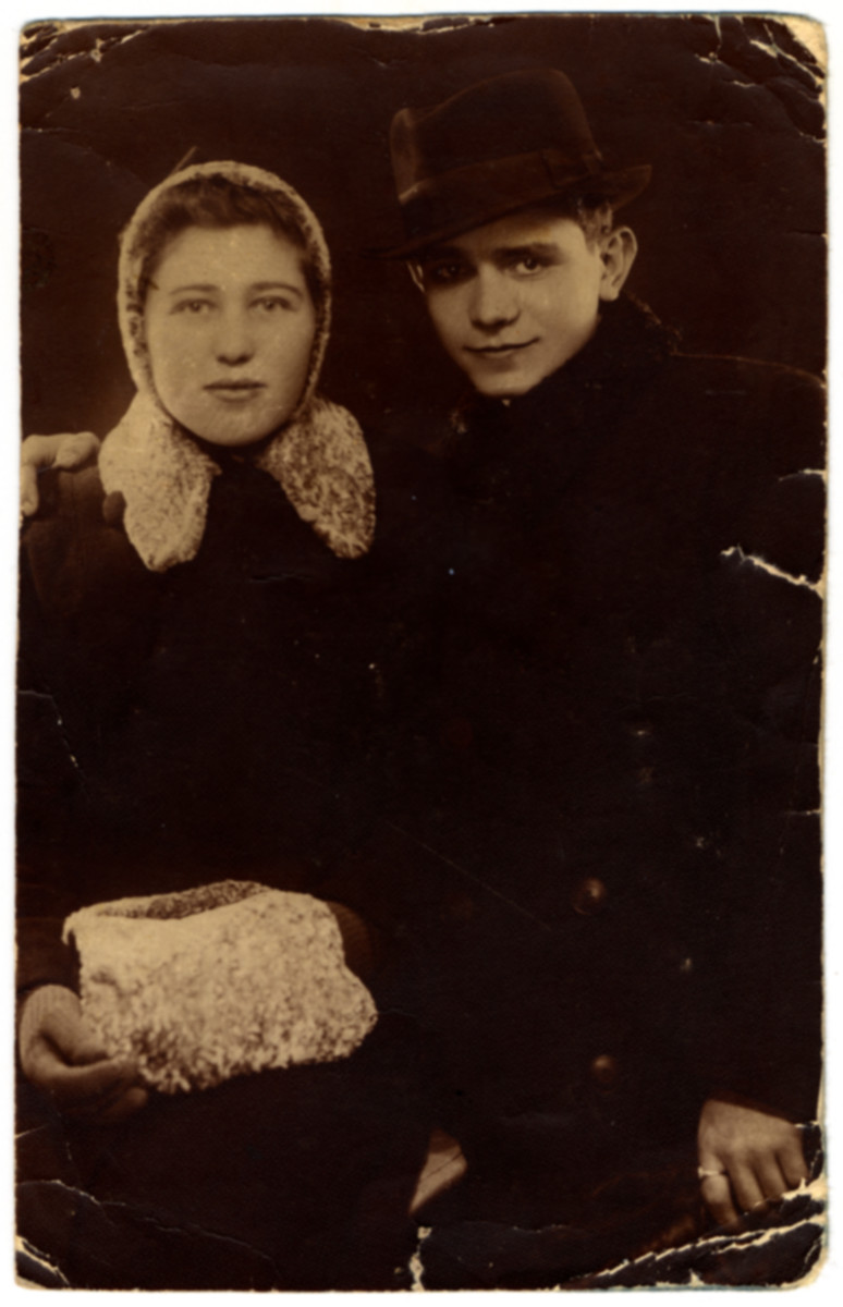 Studio portrait of Yegeniy Virtgaym and his first wife who perished in the Holocaust.
