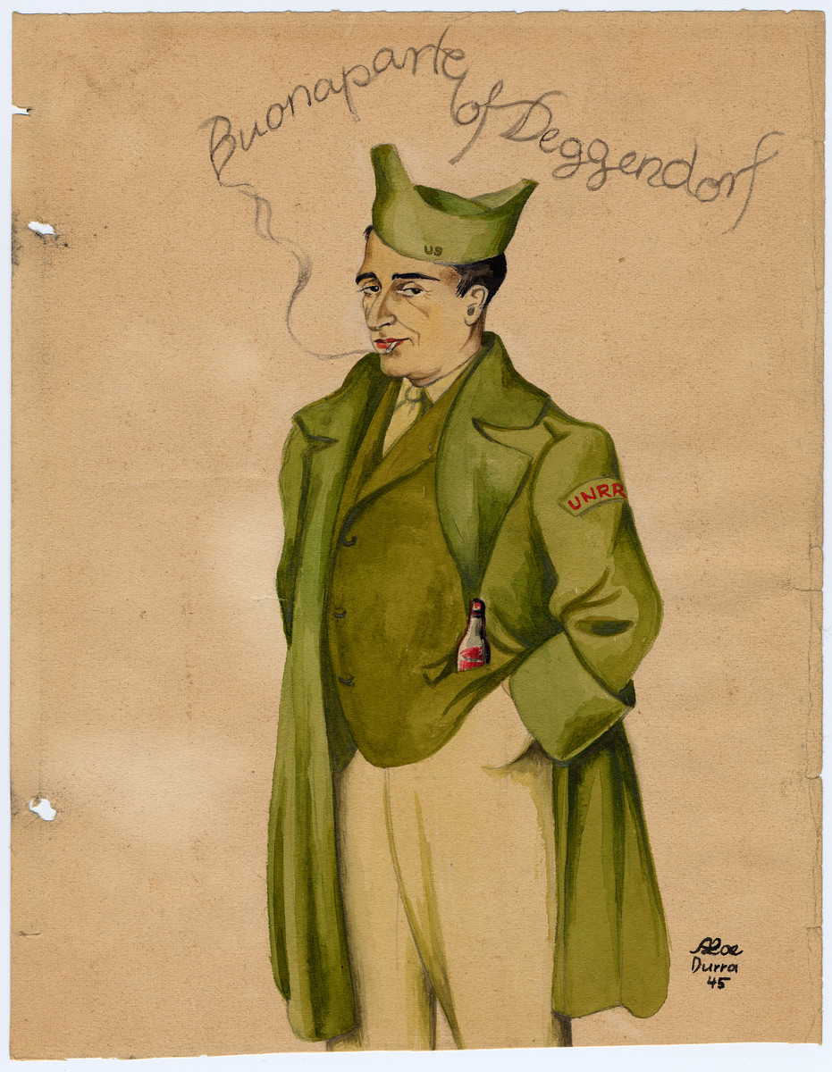 "Caricature of Carl Atkin, the UNRRA director of the Deggendorf displaced persons' camp entitled ""Buonaparte of Deggendorf."""