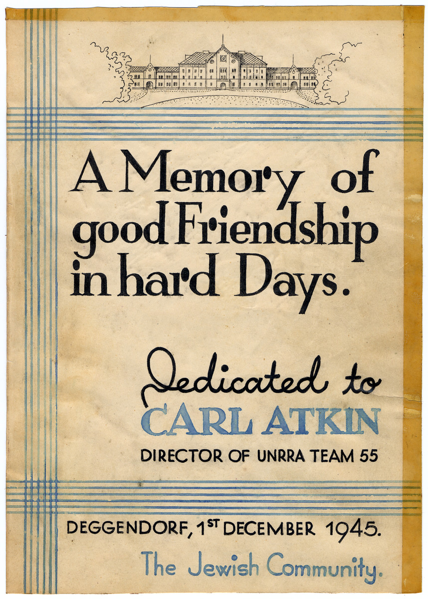 Certificate of appreication issued to Carl Atkin by the Jewish community of the Deggendorf displaced persons' camp.