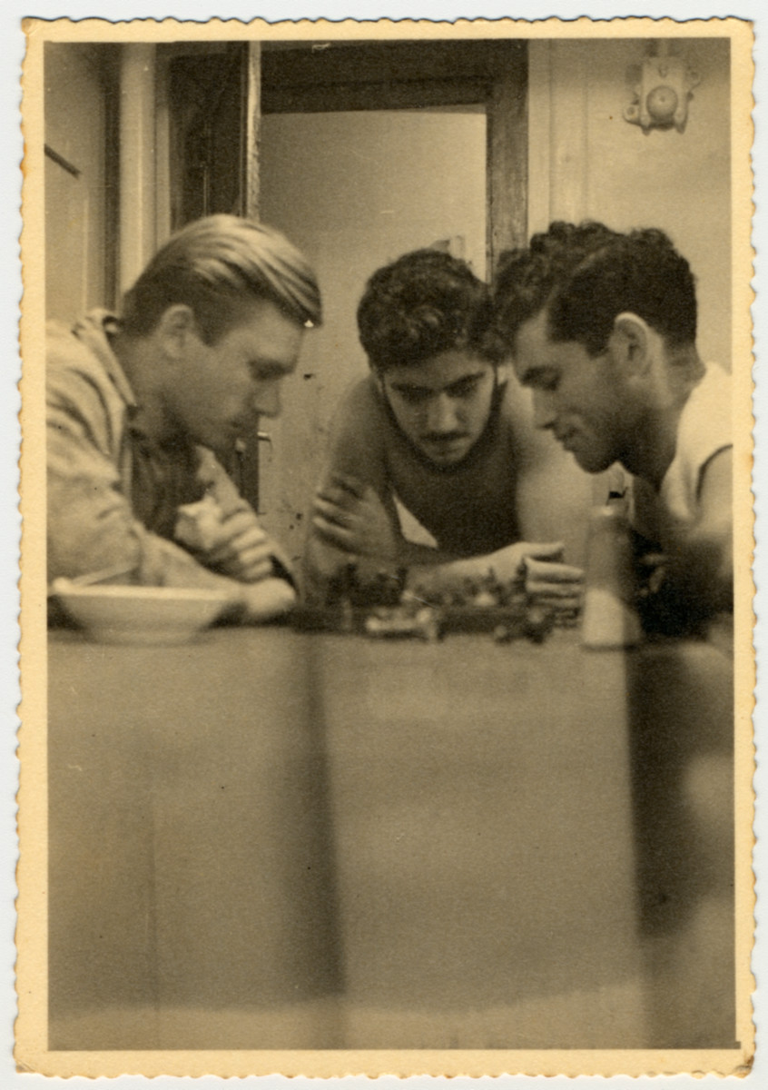 Israeli crew members play a came of chess on board the Pan Crescent.