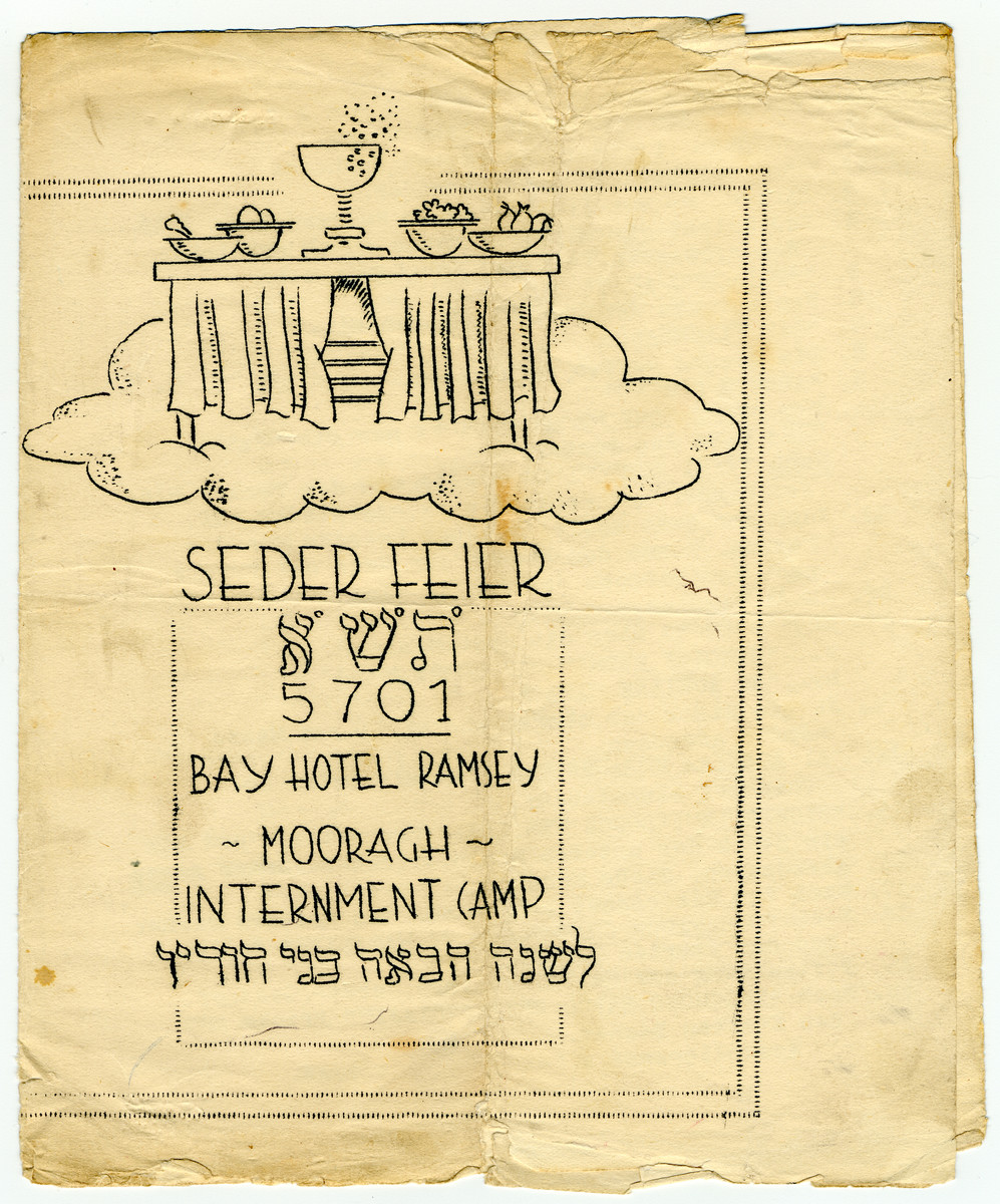 Cover to a program for a Passover seder held in the Hotel Ramsey, Mooragh Internment Camp on the Isle of Man.