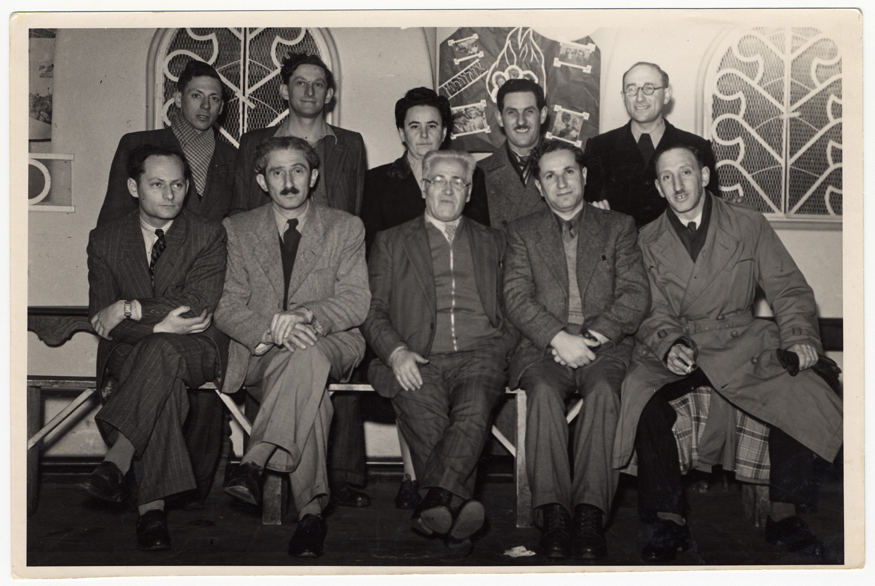 Group portrait of the organizers of Aliyah Bet (illegal immigration to Palestine) in Belgium.  Among those pictured is Willy Katz (back row, second from the right). David Tabachnik is seated second from the left.  His wife Reva is standing in the center.
