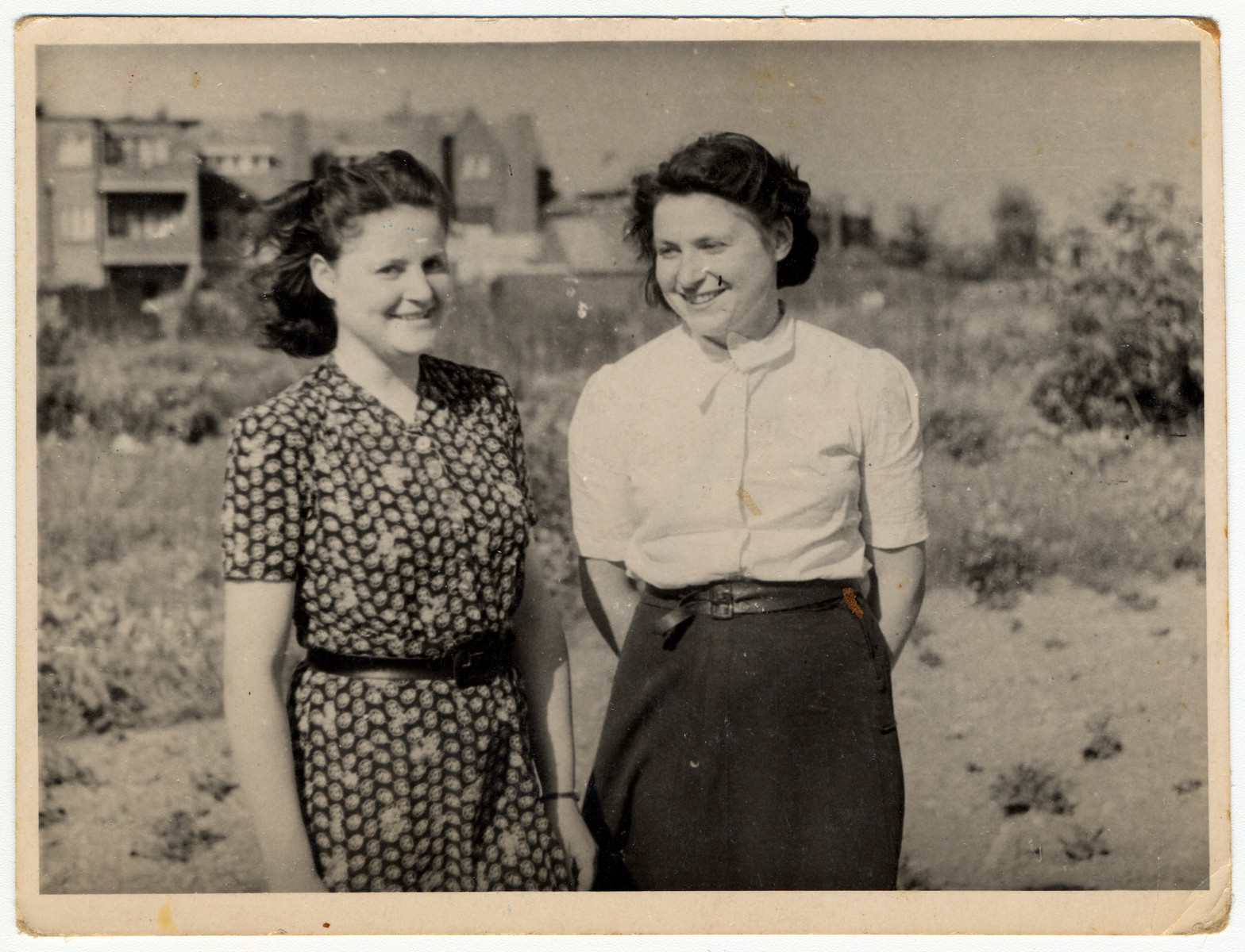 Ina and Josette Soep stand outside in eastern Holland shortly after their return to The Netherlands following liberation.